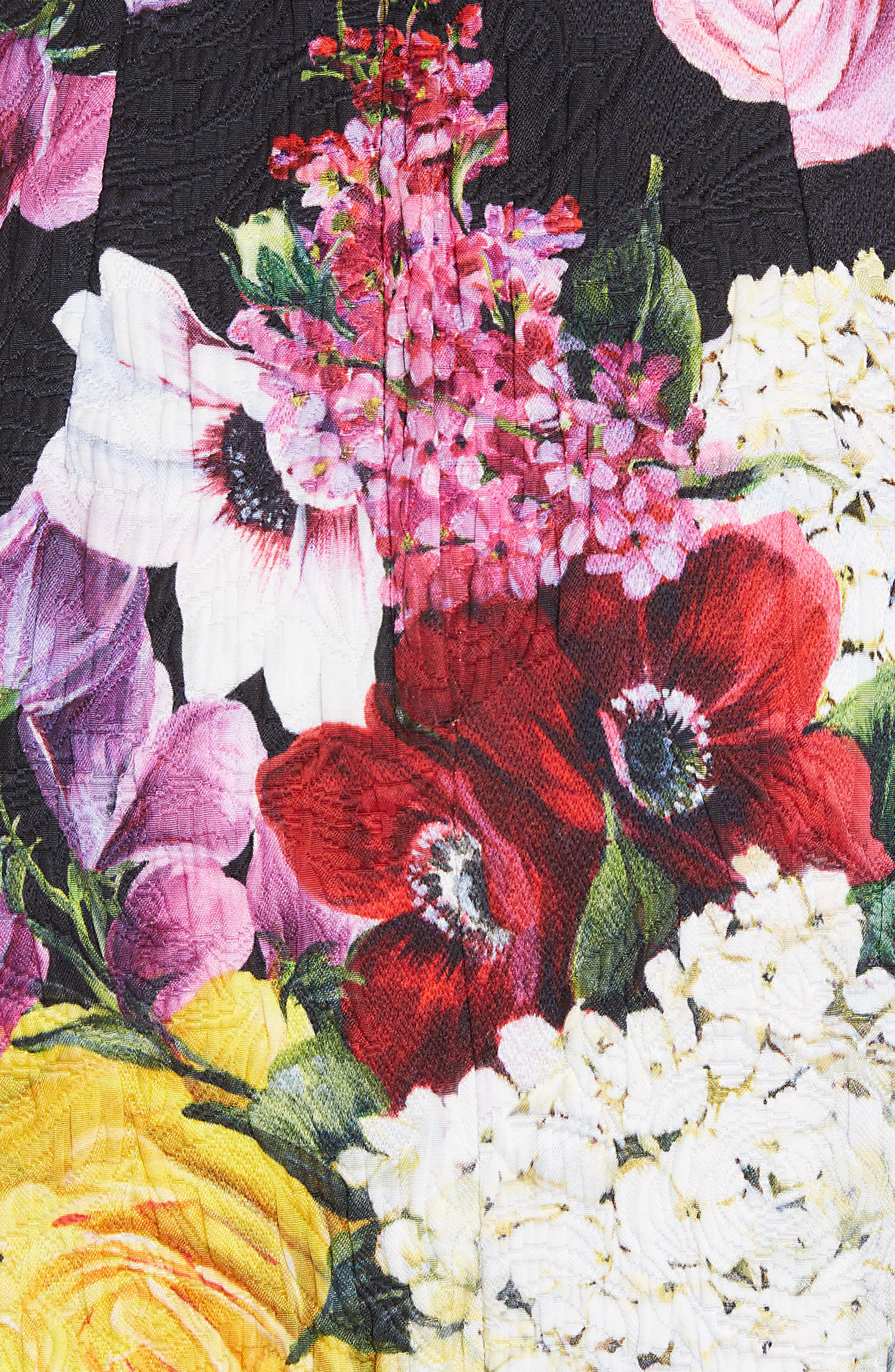 Floral Print Brocade Bustier Dress,                             Alternate thumbnail 5, color,                             HNW86 BLACK FLORAL
