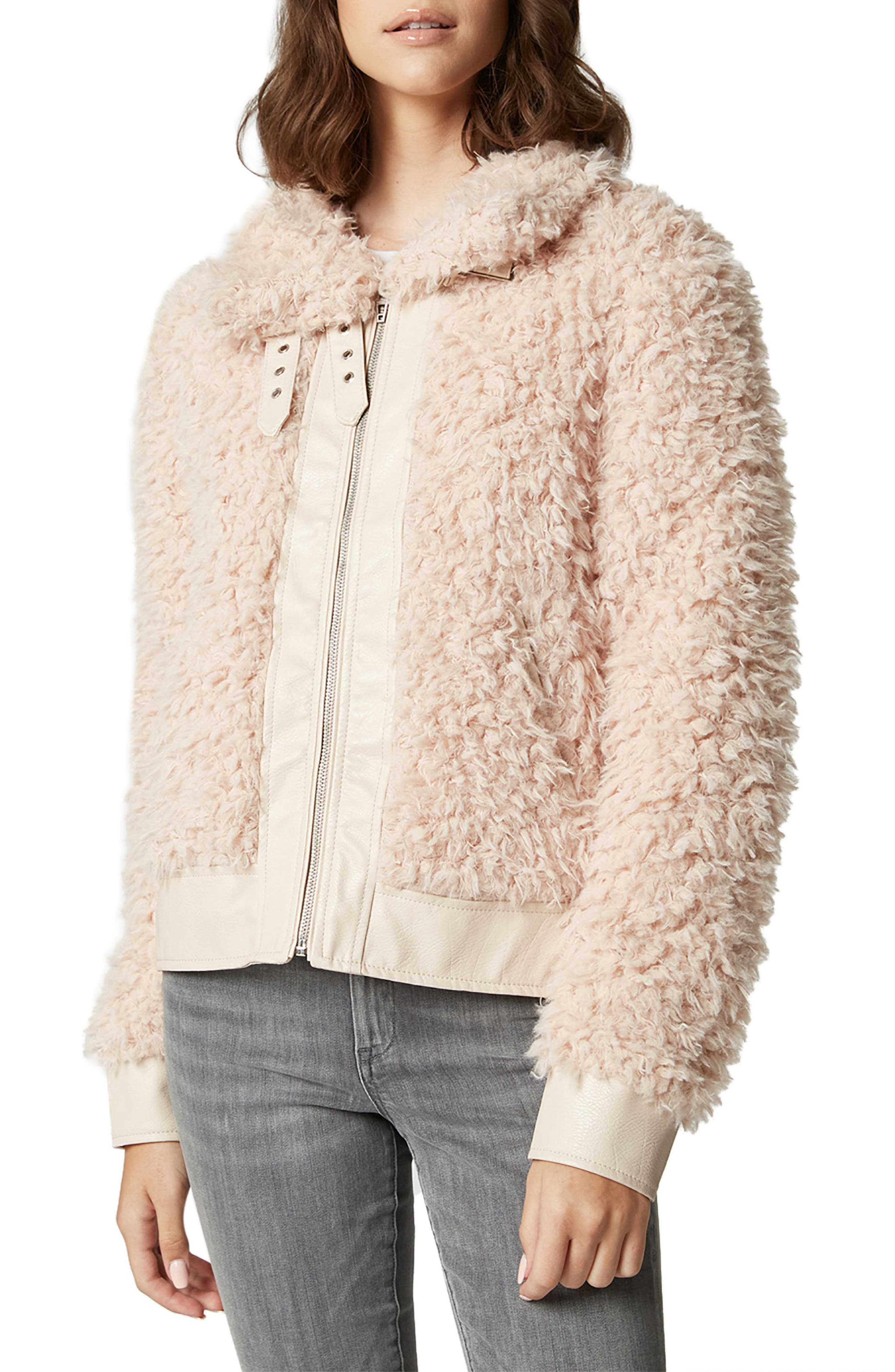 Curly Faux Shearling Jacket, Main, color, CLOUD NINE