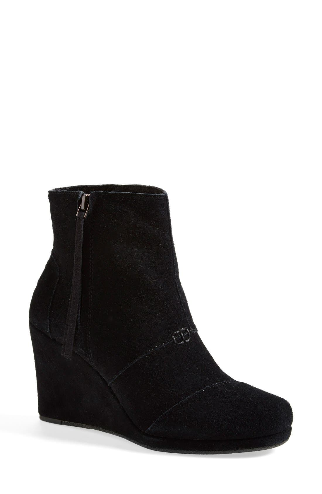 TOMS,                             'Desert' Wedge High Bootie,                             Main thumbnail 1, color,                             001