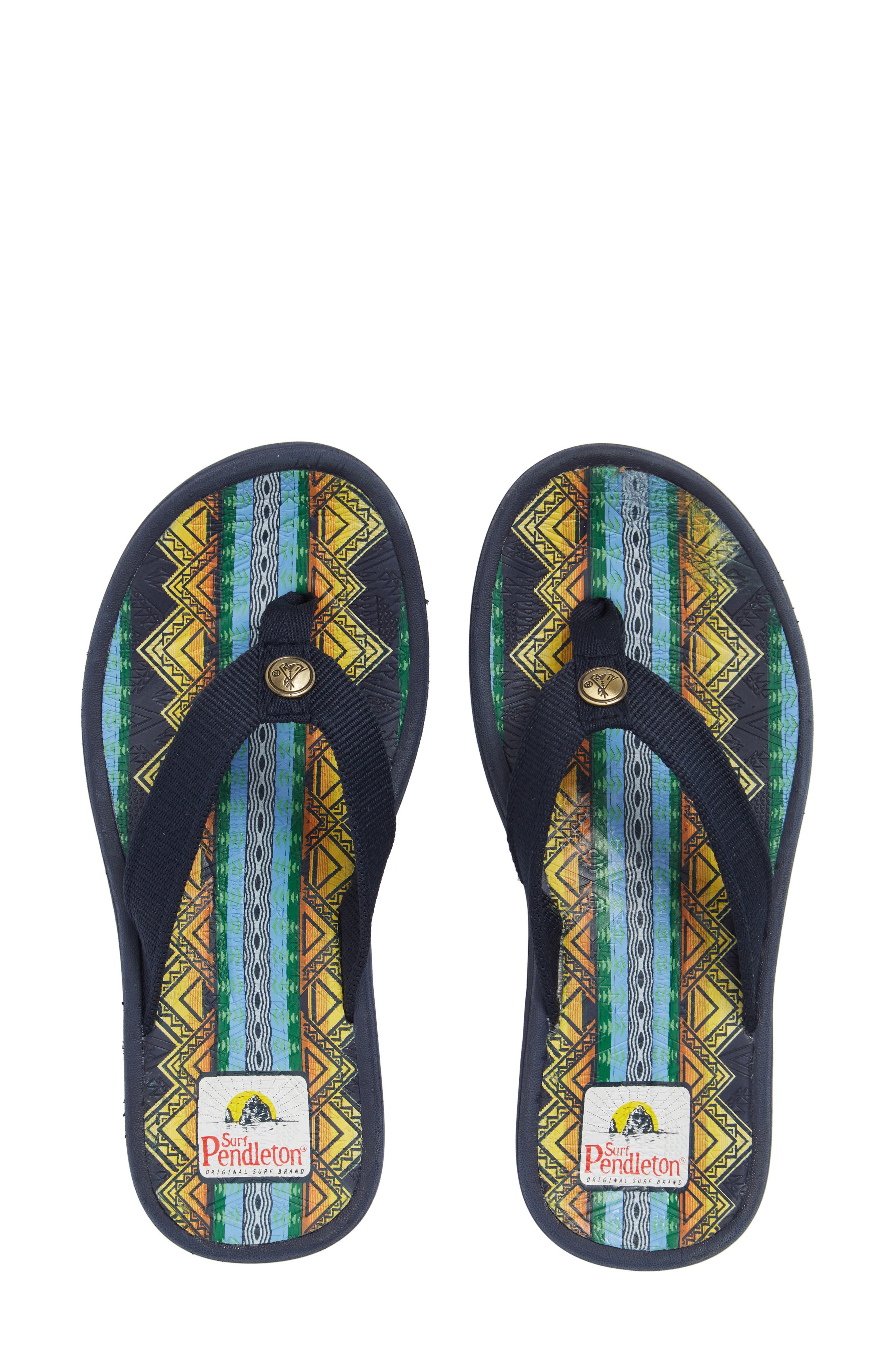 Pendleton American Treasures Flip Flop,                             Main thumbnail 1, color,                             NAVY