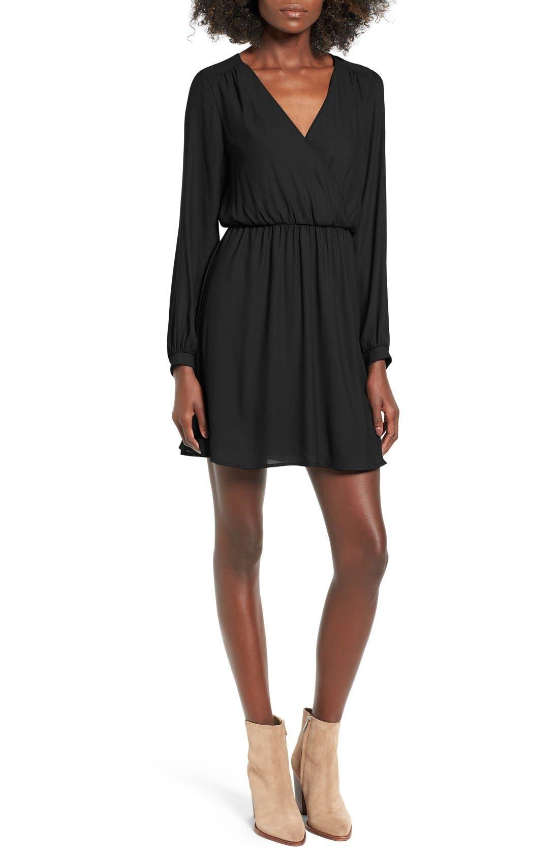 ---,                             Emma Surplice Skater Dress,                             Main thumbnail 1, color,                             001