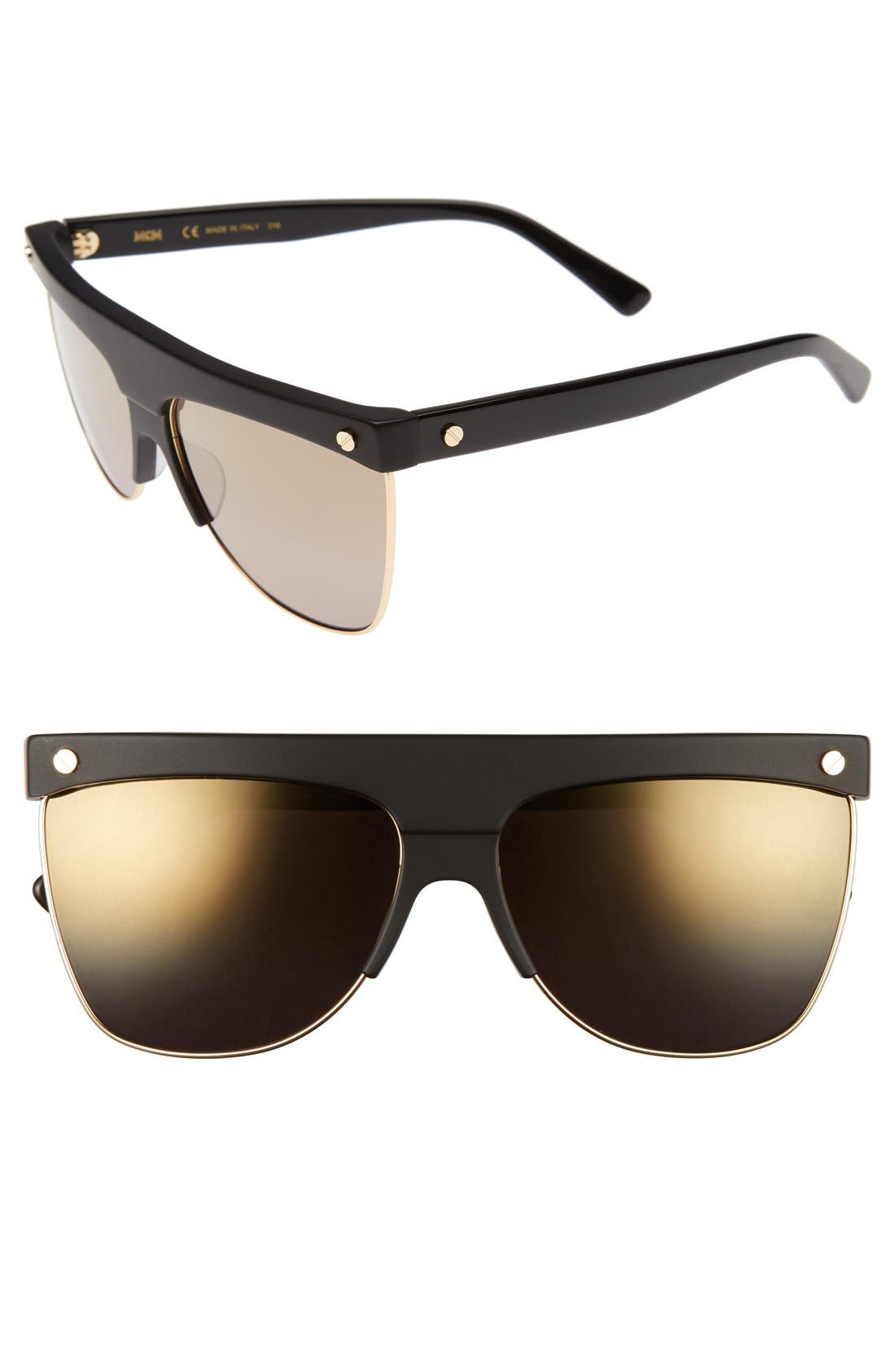 60mm Aviator Sunglasses,                             Main thumbnail 1, color,                             001