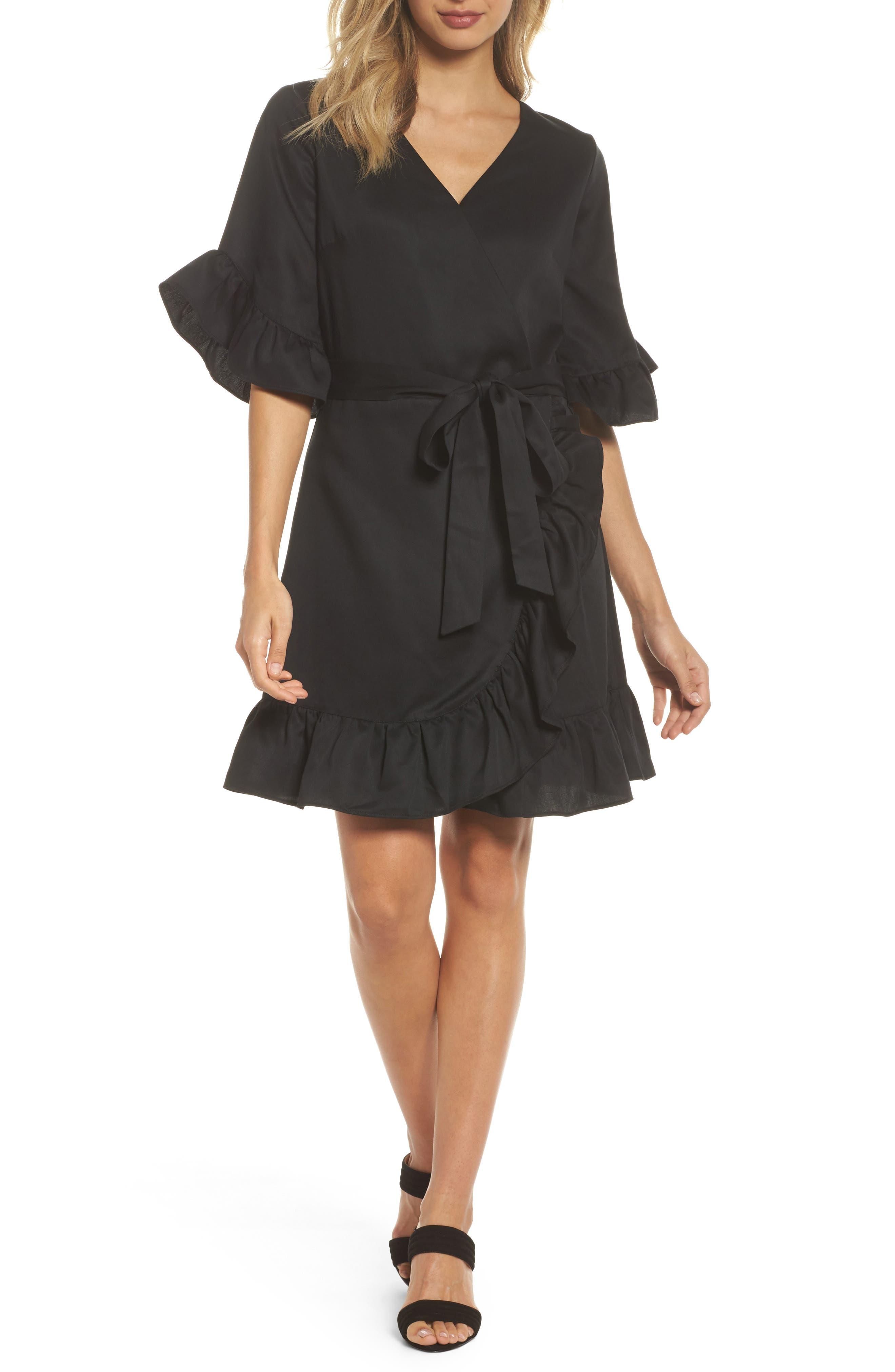 Ruffle Wrap Dress,                             Main thumbnail 1, color,                             001