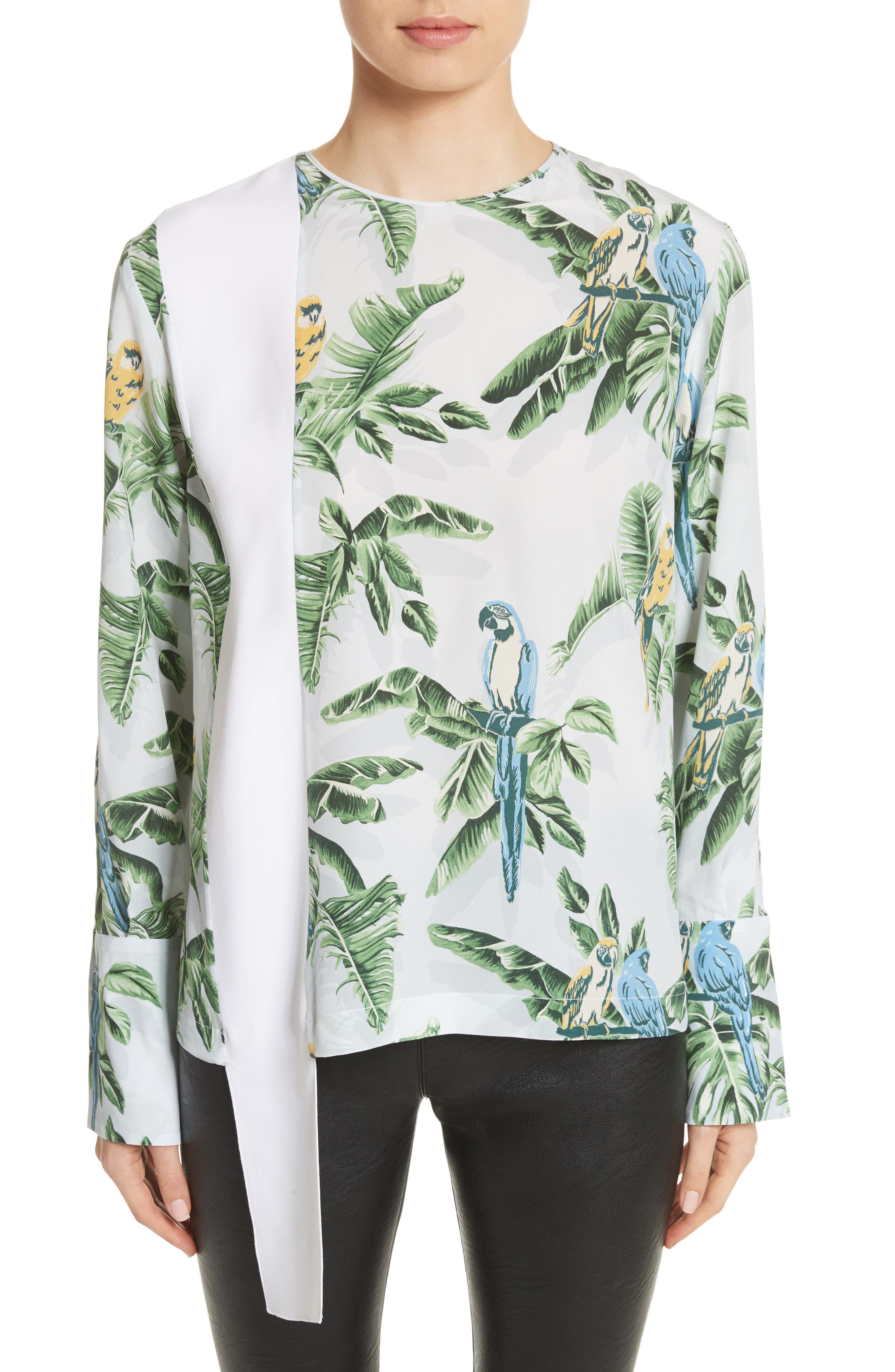 Claire Bird of Paradise Crêpe de Chine Blouse,                             Main thumbnail 1, color,