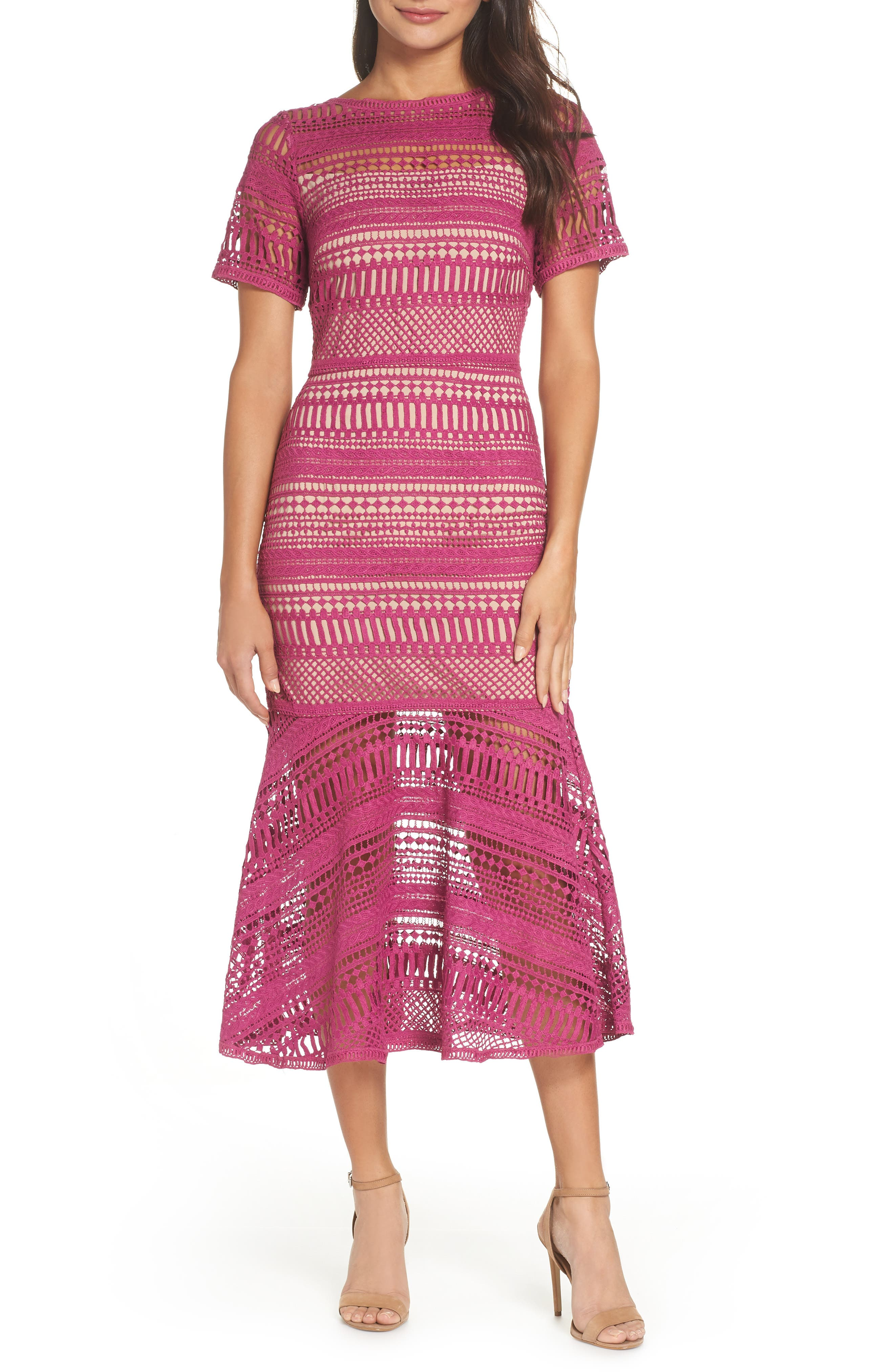 Lace Trumpet Midi Dress by Chelsea28
