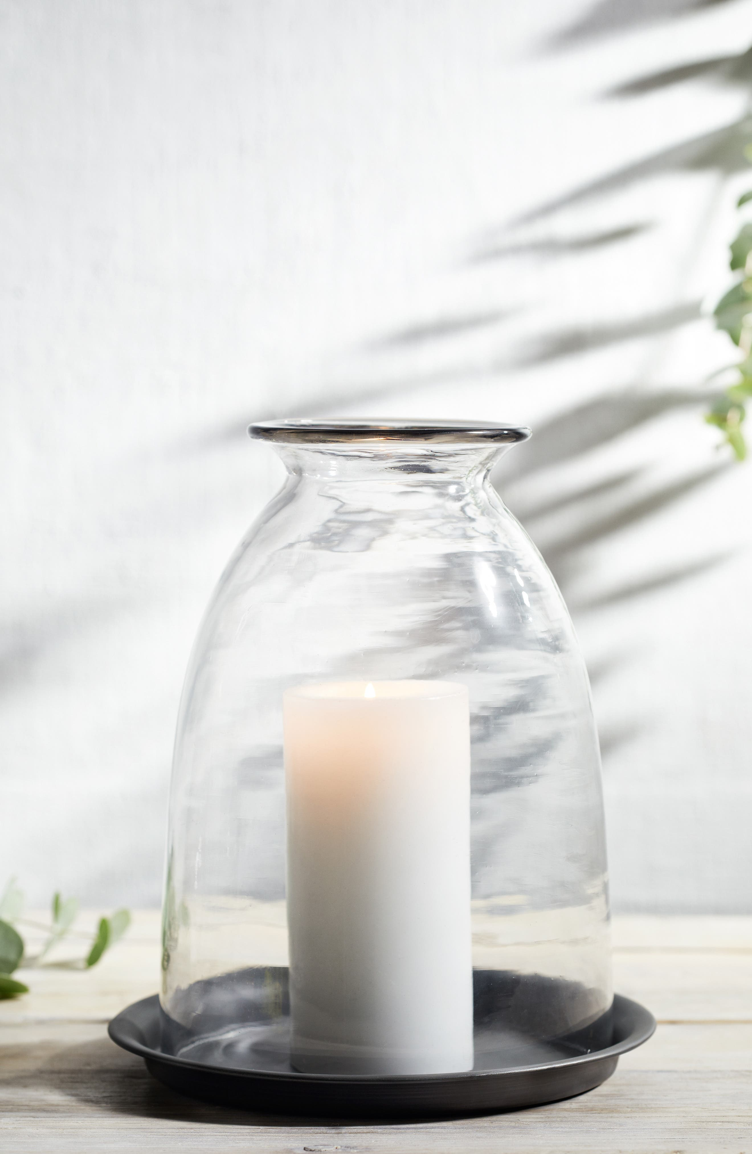 THE WHITE COMPANY Dome Candle Holder & Tray, Main, color, CLEAR