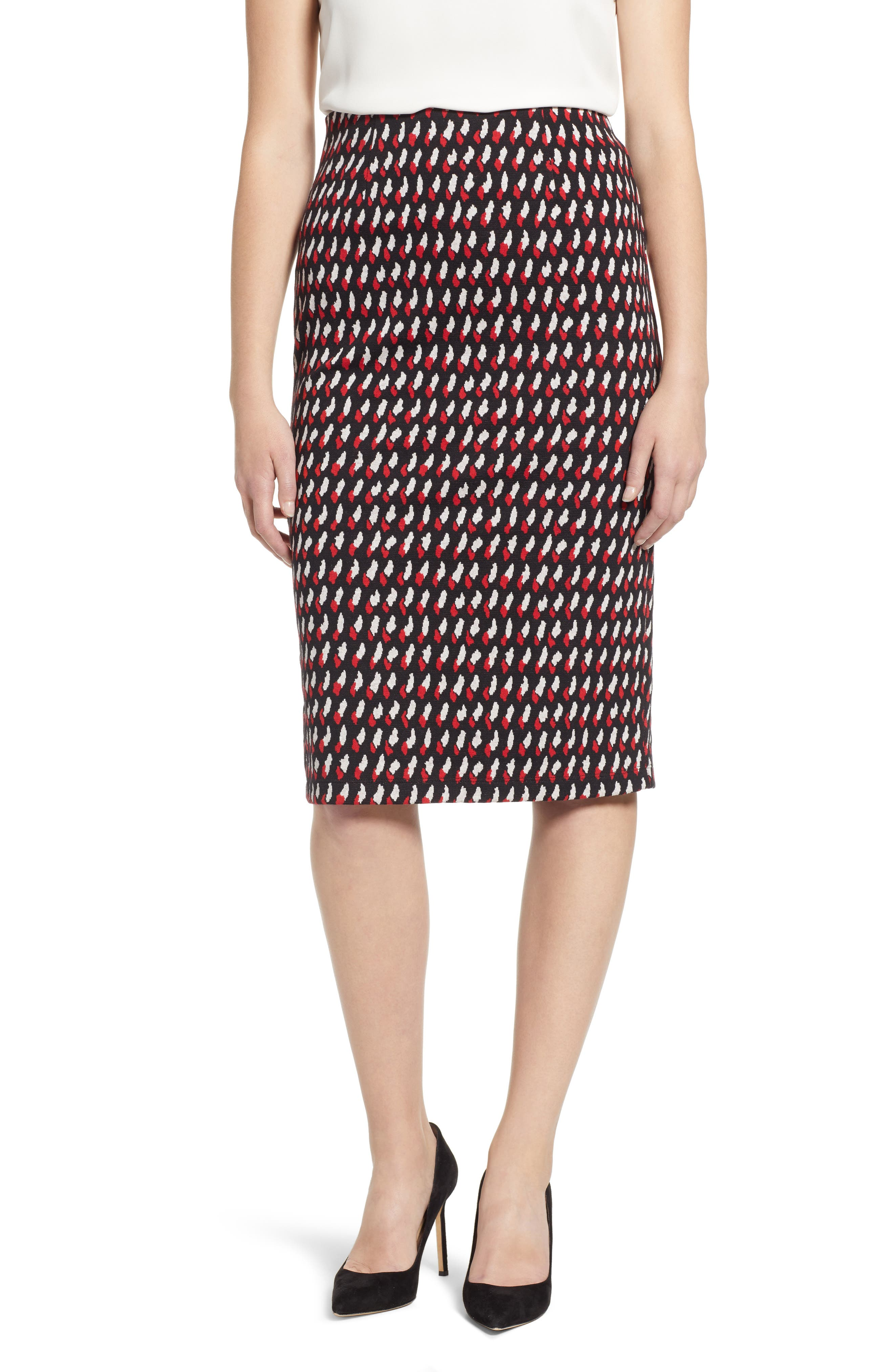 Everleigh Double Knit Pencil Skirt, Red