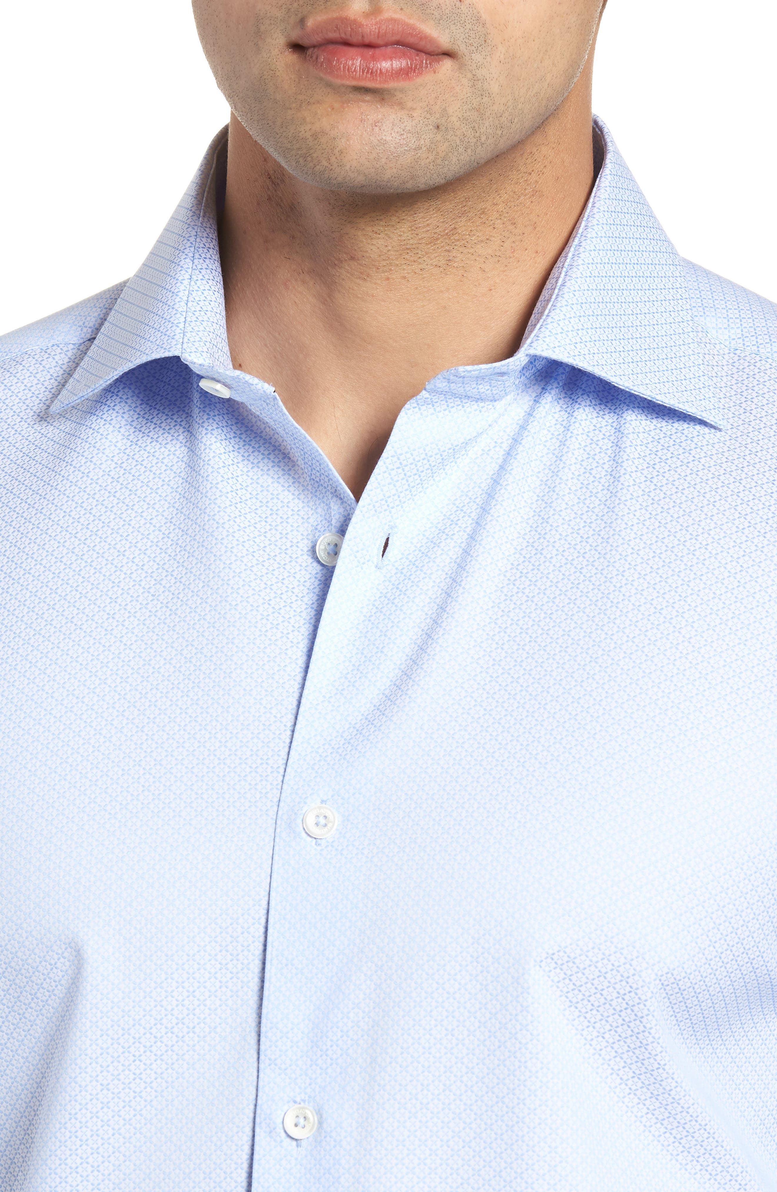 Shaped Fit Textured Dress Shirt,                             Alternate thumbnail 2, color,                             SKY