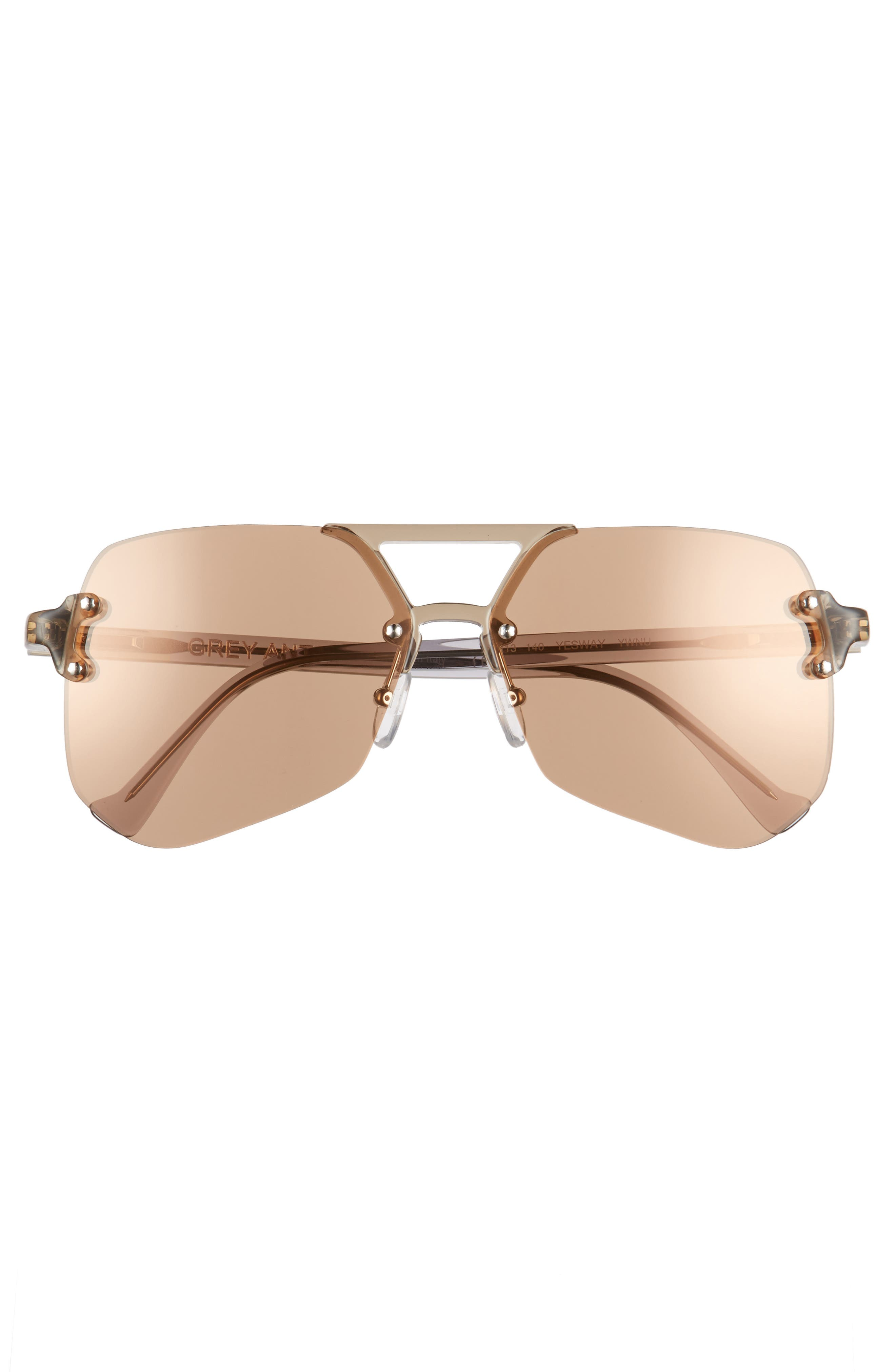 Yesway 60mm Sunglasses,                             Alternate thumbnail 3, color,                             BROWN LENS/ SILVER HARDWARE