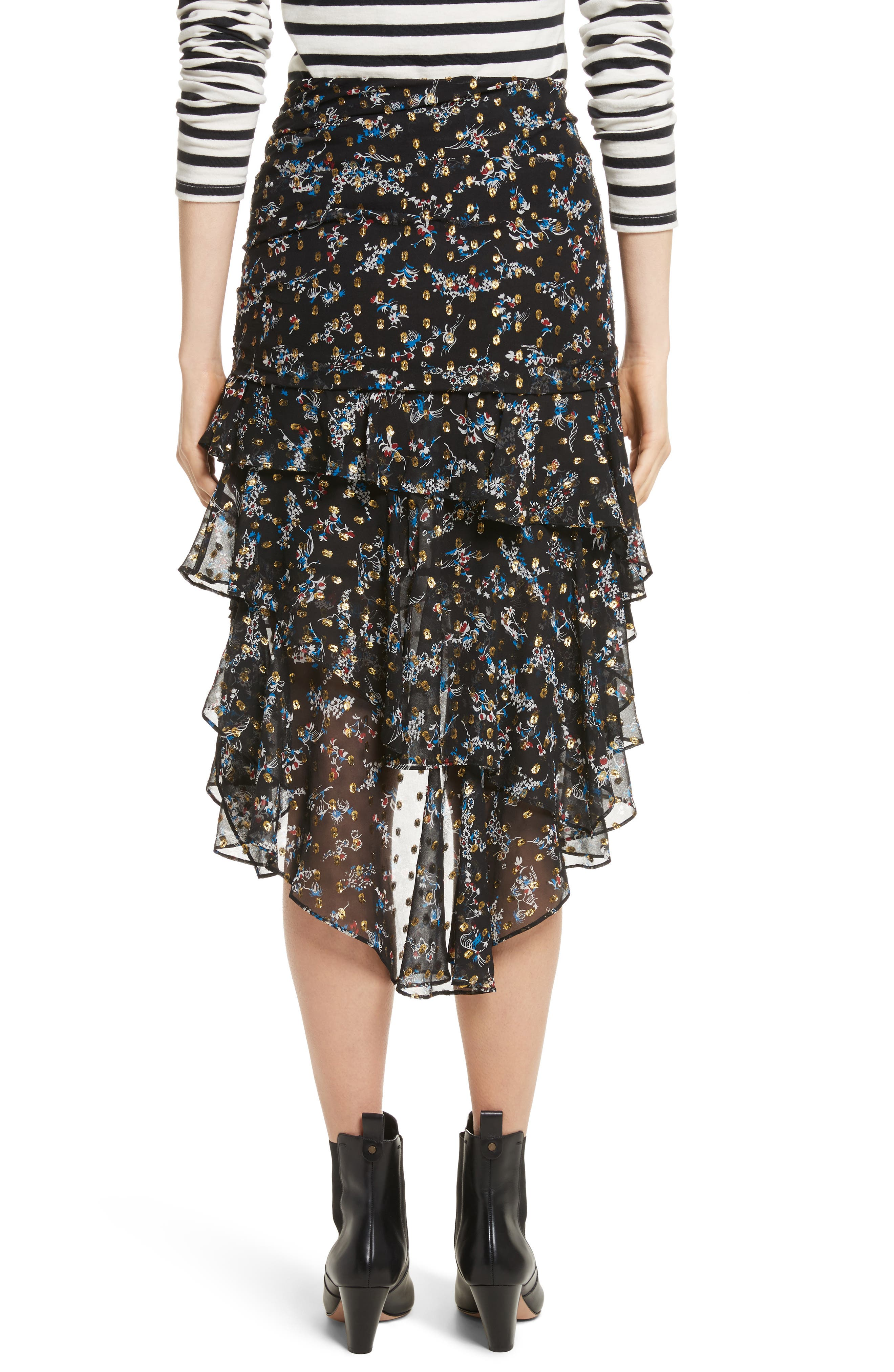 Cella Metallic Floral Print Midi Skirt,                             Alternate thumbnail 2, color,                             008