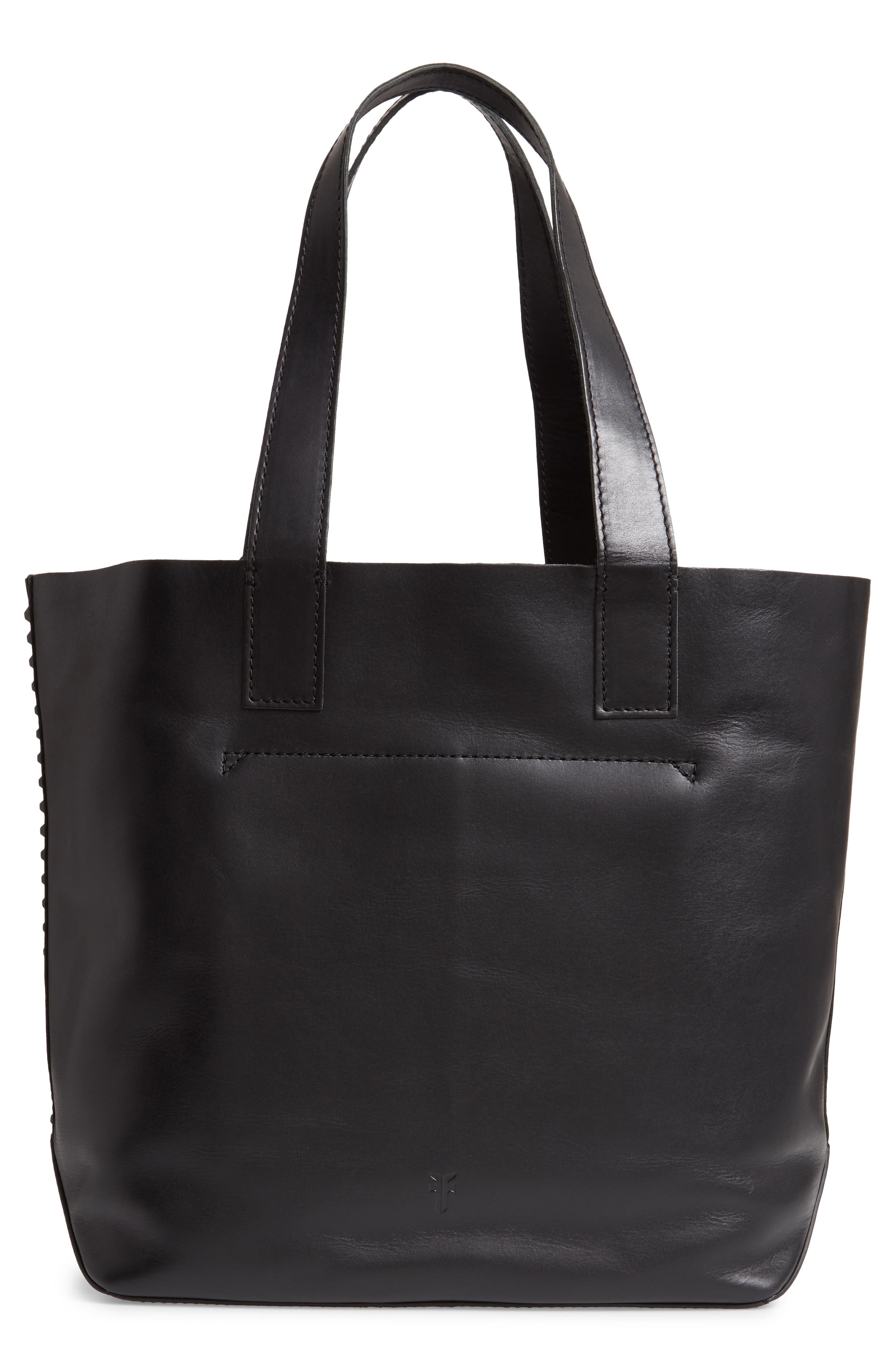 Carson Studded Leather Tote,                             Alternate thumbnail 3, color,                             001