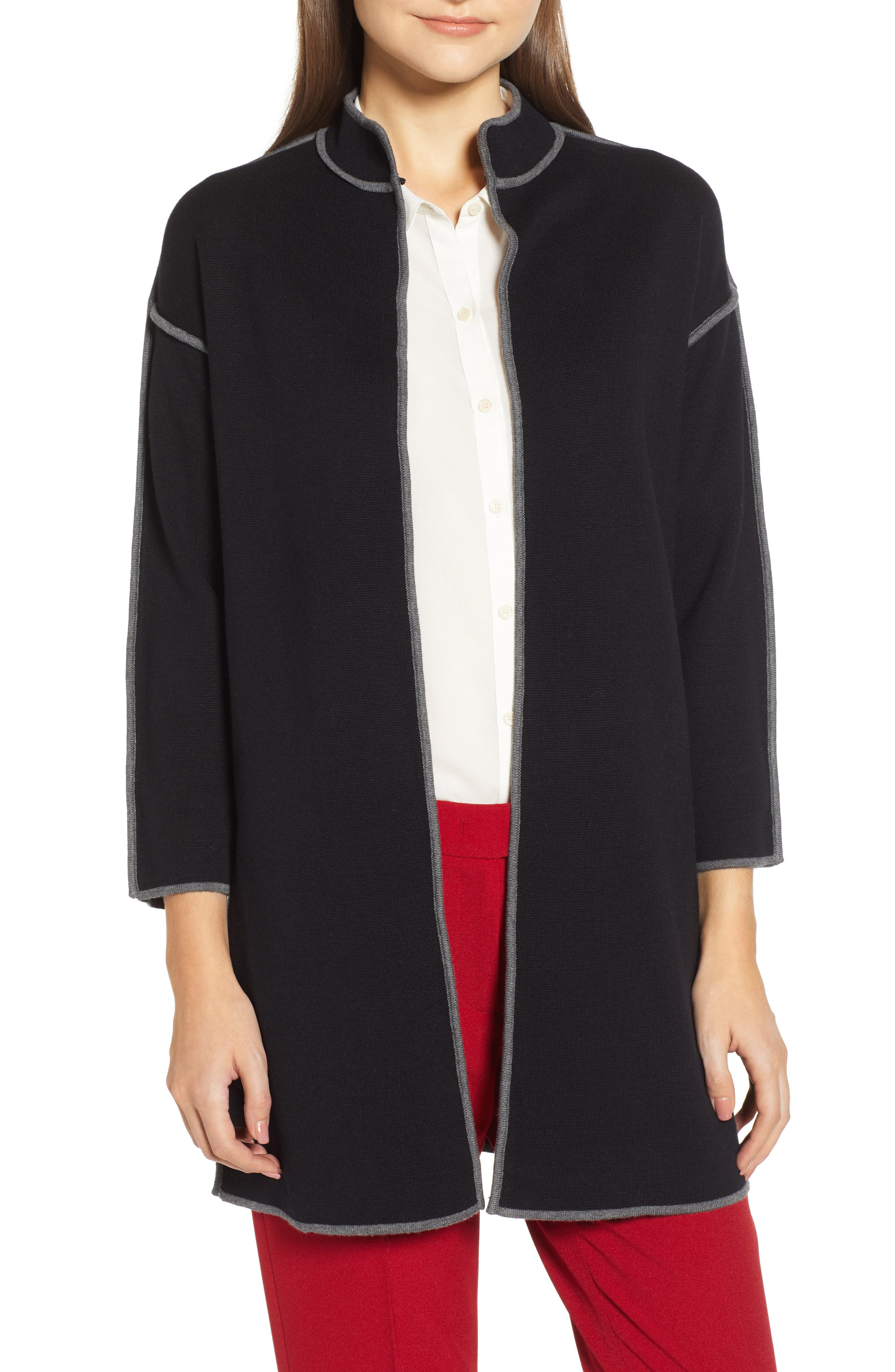 ANNE KLEIN Piped Detail Nehru Sweater Coat in Anne Black/ Degas Grey (Dec)