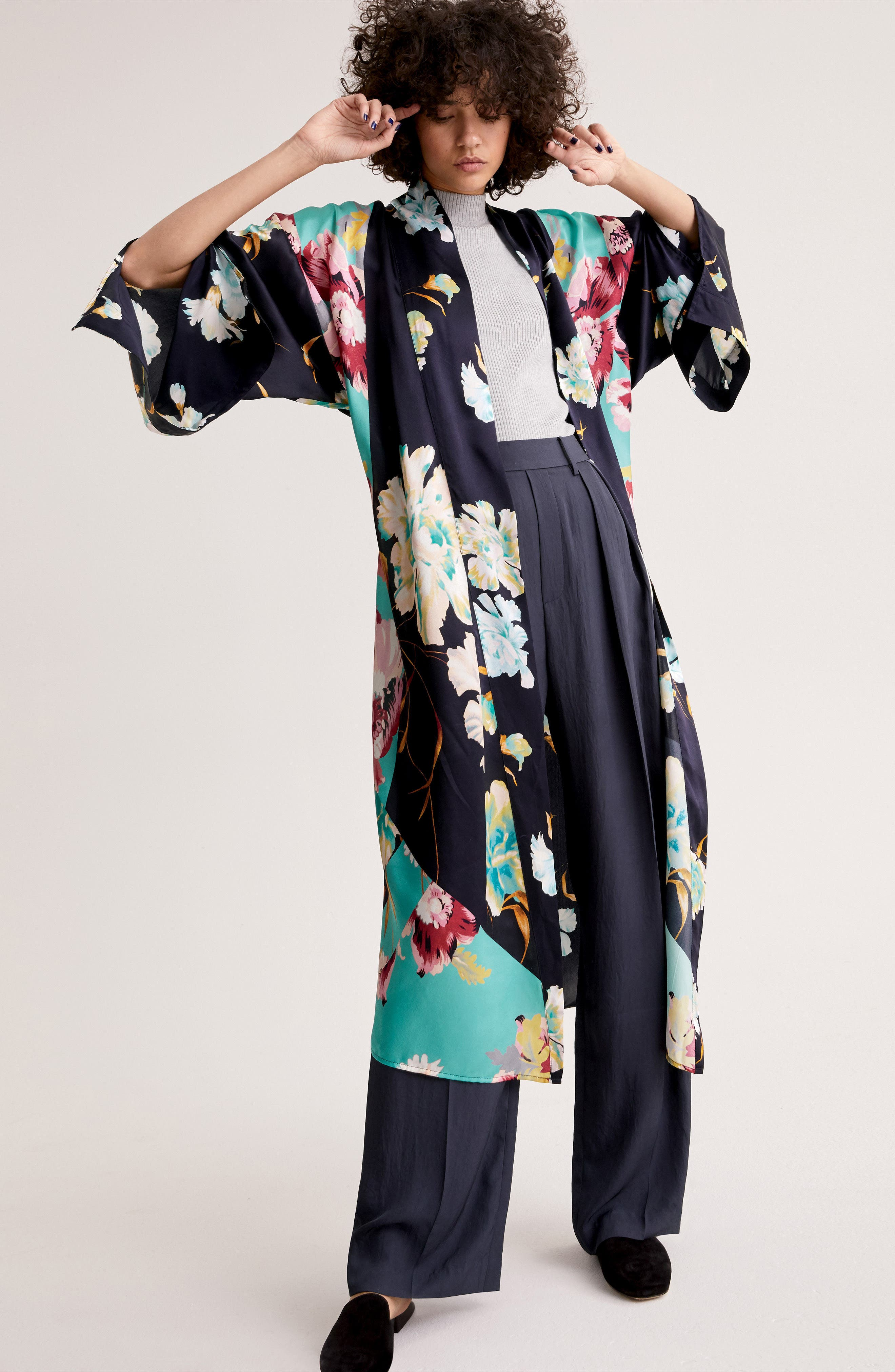 Print Long Silk Kimono,                             Alternate thumbnail 7, color,                             PINK AUTUMN BOUQUET