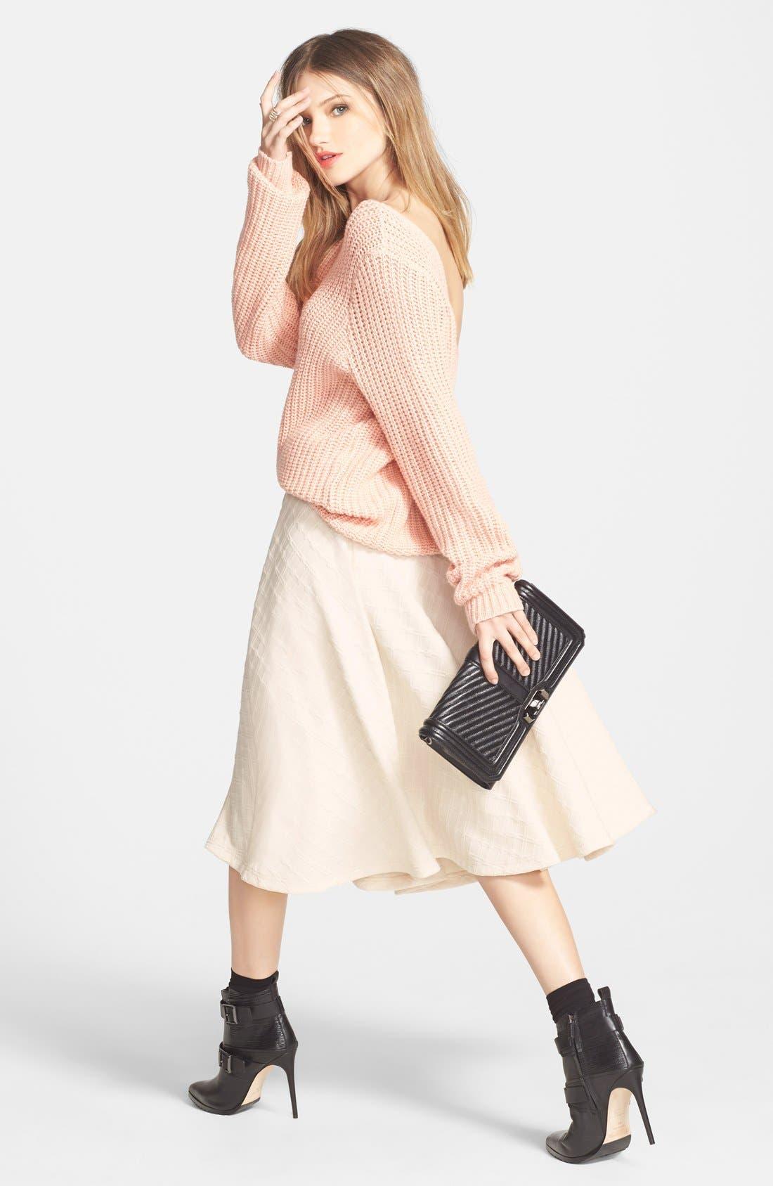 Textured Midi Skirt,                             Alternate thumbnail 3, color,                             900