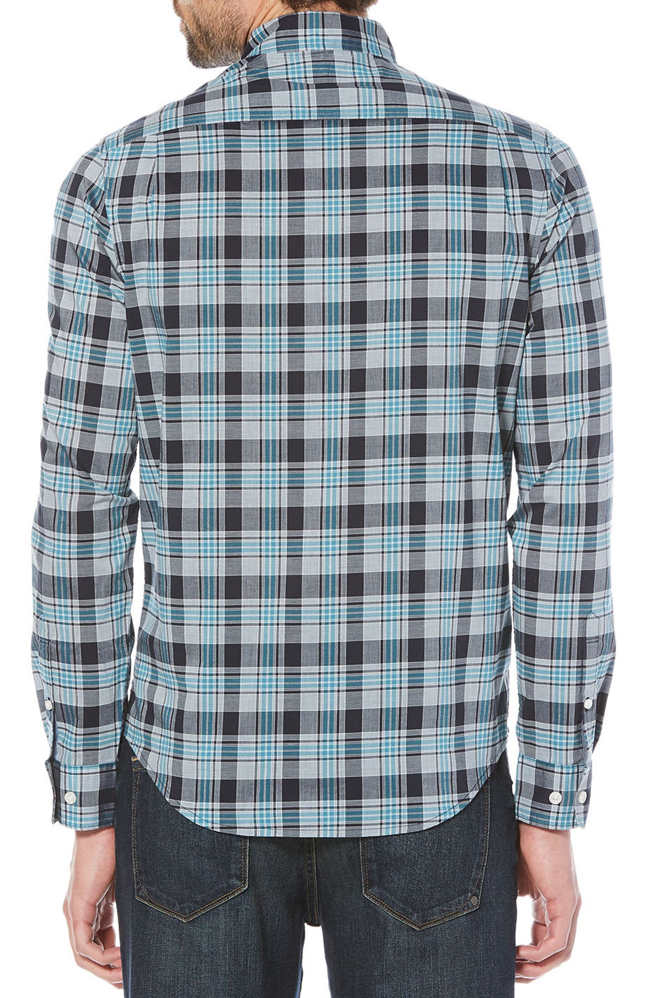 Stretch Plaid Button-Down Shirt,                             Alternate thumbnail 2, color,