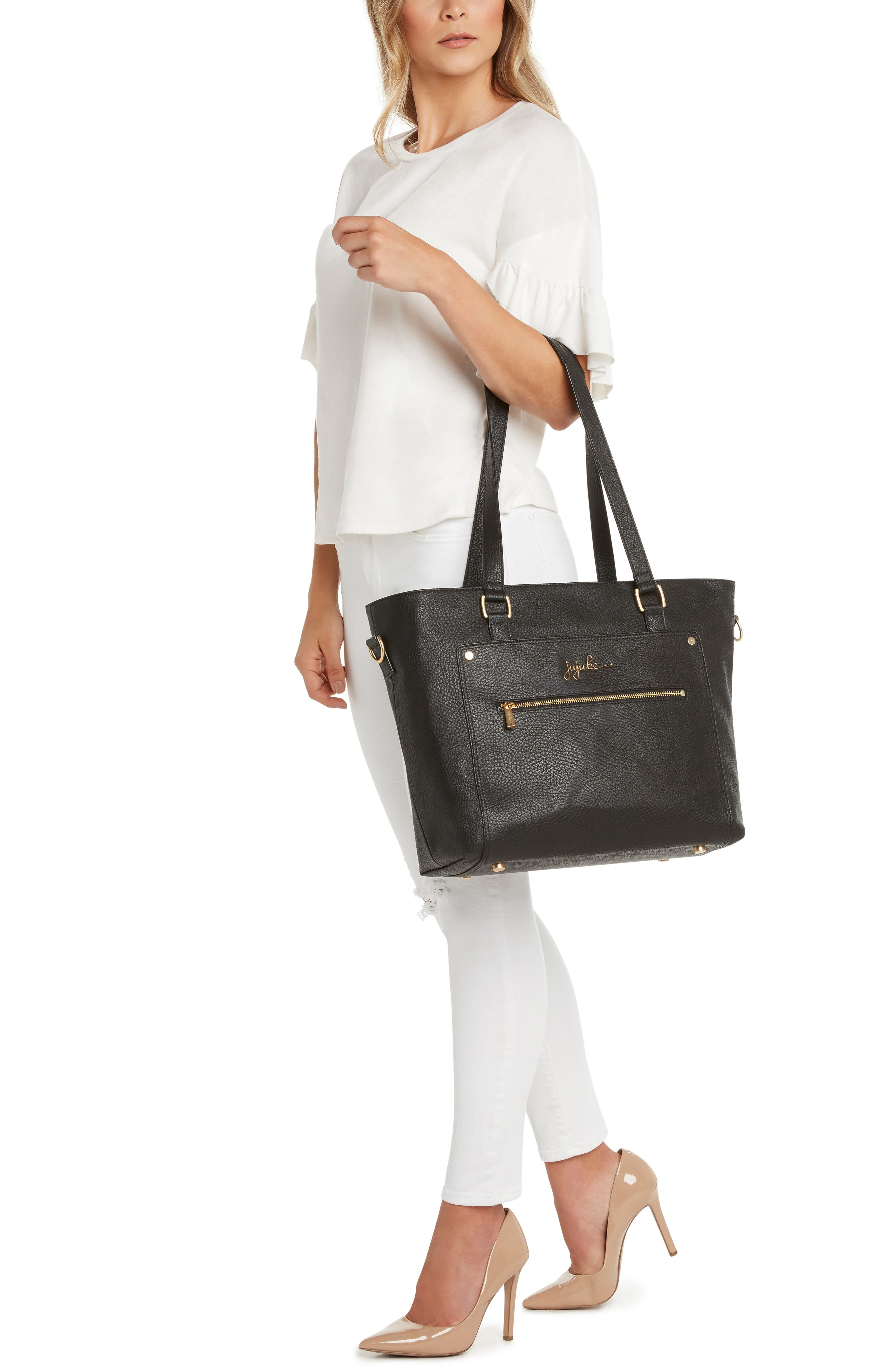 Ever Collection Everyday Faux Leather Diaper Tote,                             Alternate thumbnail 8, color,                             NOIR