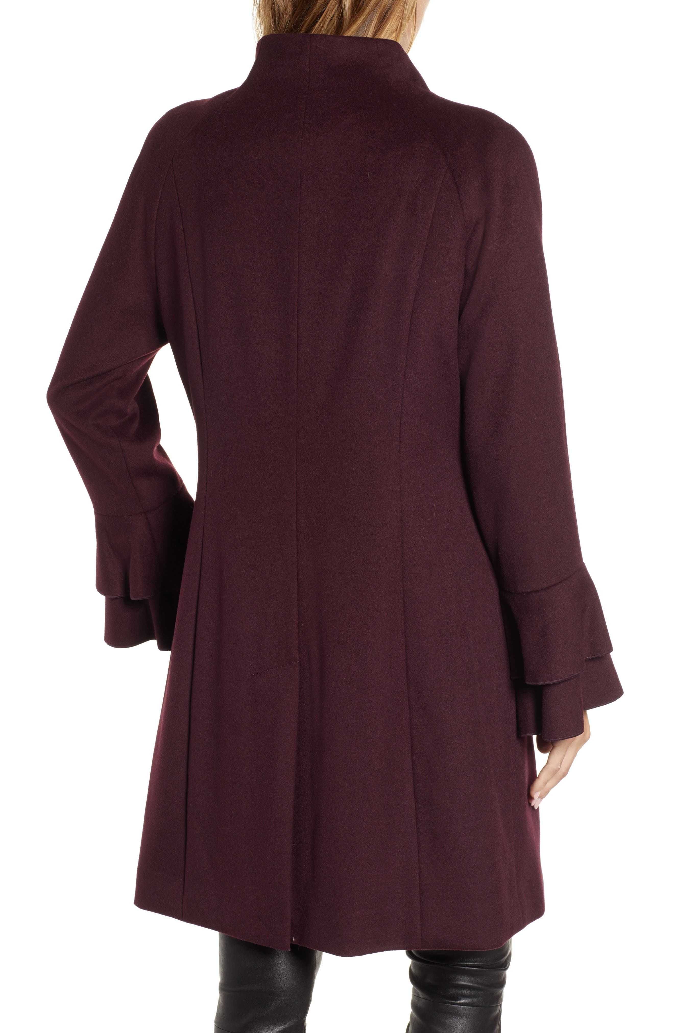 Sara Ruffle Cuff Wool Blend Coat,                             Alternate thumbnail 2, color,                             WINE