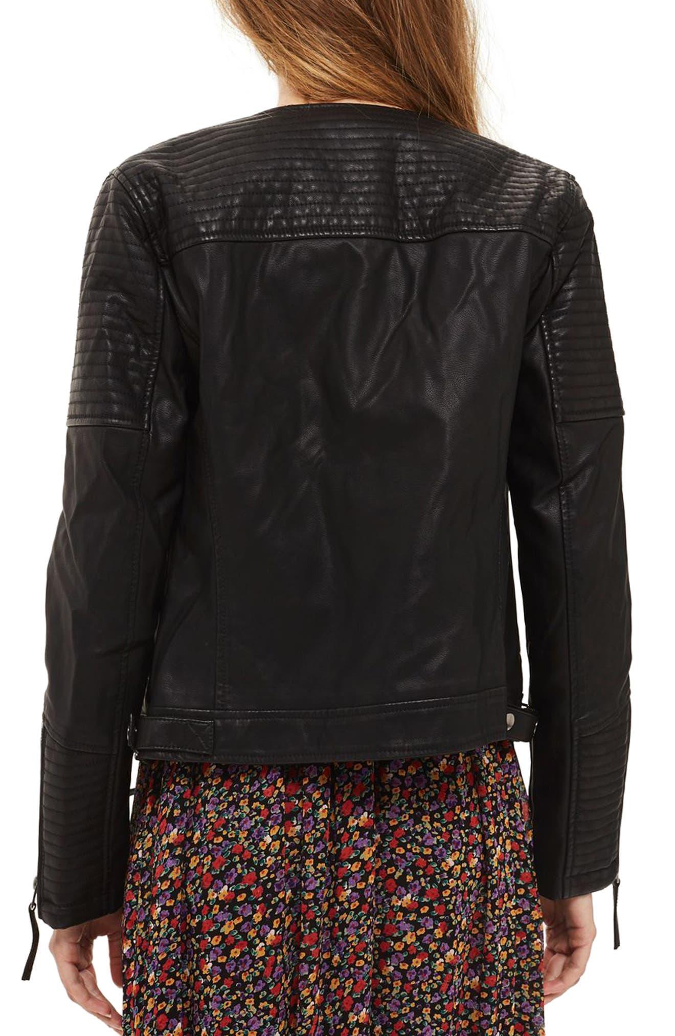 Luna Faux Leather Biker Jacket,                             Alternate thumbnail 4, color,