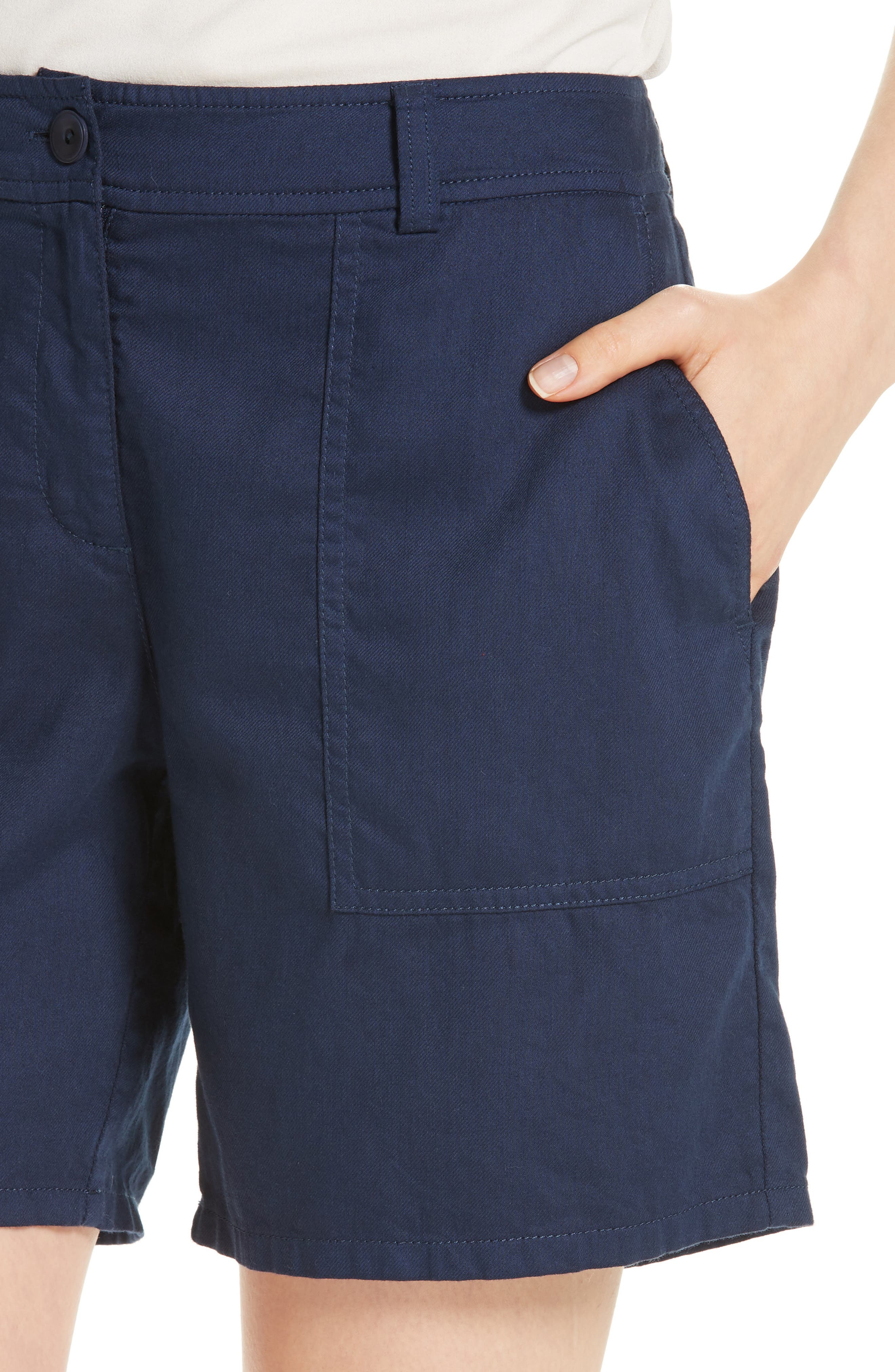 Organic Cotton Walking Shorts,                             Alternate thumbnail 4, color,                             INDIGO