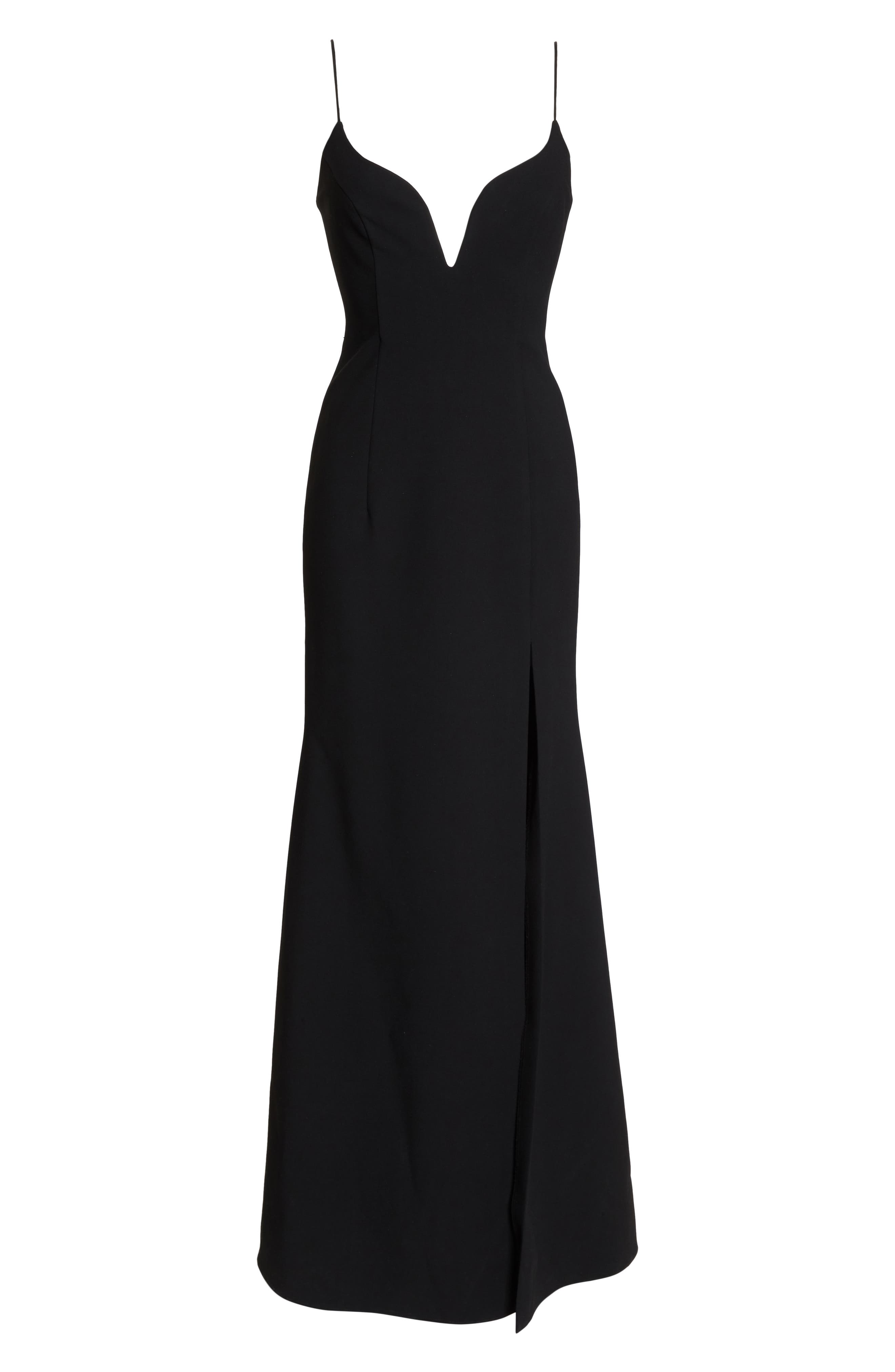 Plunge Sweetheart Gown,                             Alternate thumbnail 7, color,                             BLACK