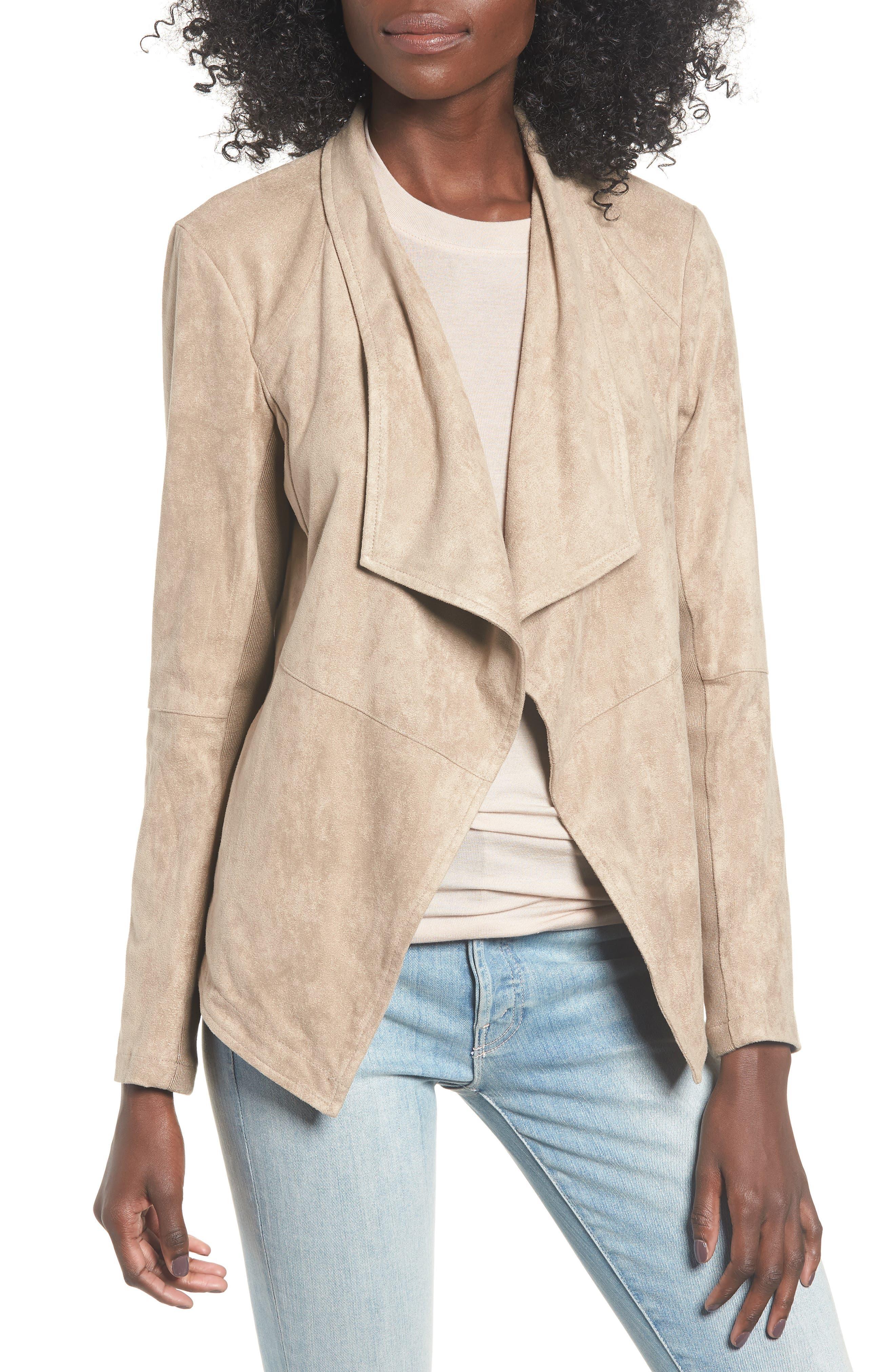 Nicholson Faux Suede Drape Front Jacket,                         Main,                         color, WARM STONE