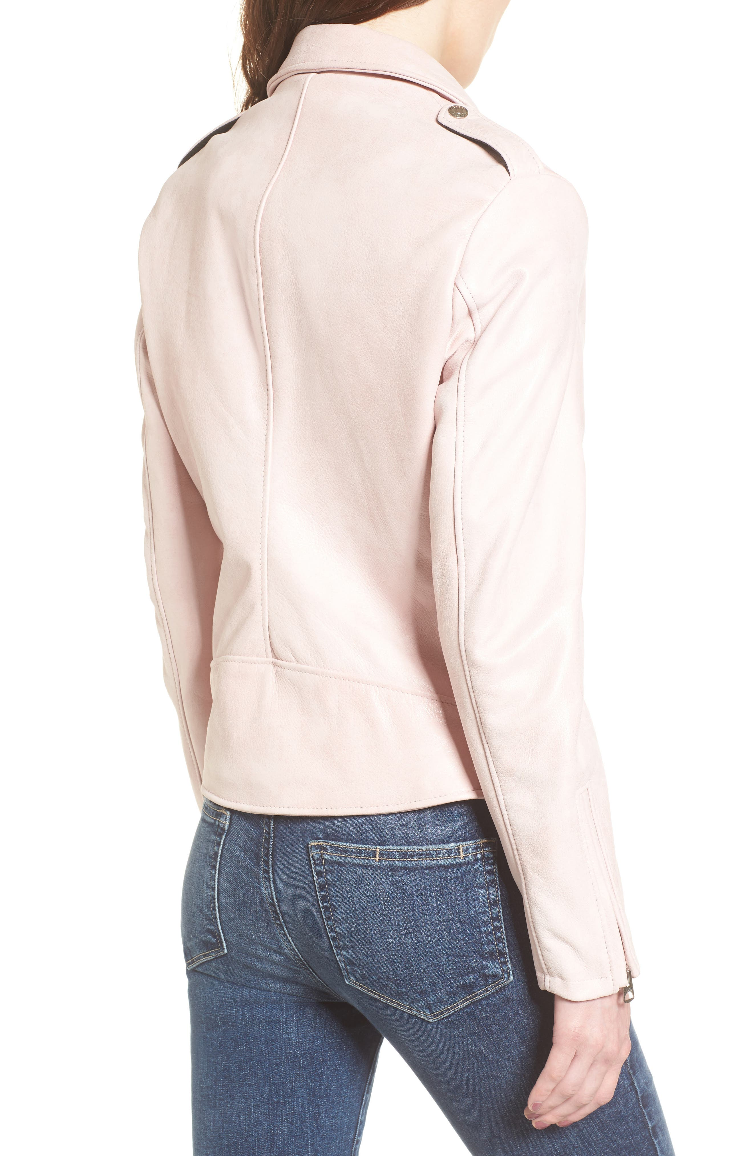 Perfecto Distressed Leather Boyfriend Jacket,                             Alternate thumbnail 6, color,