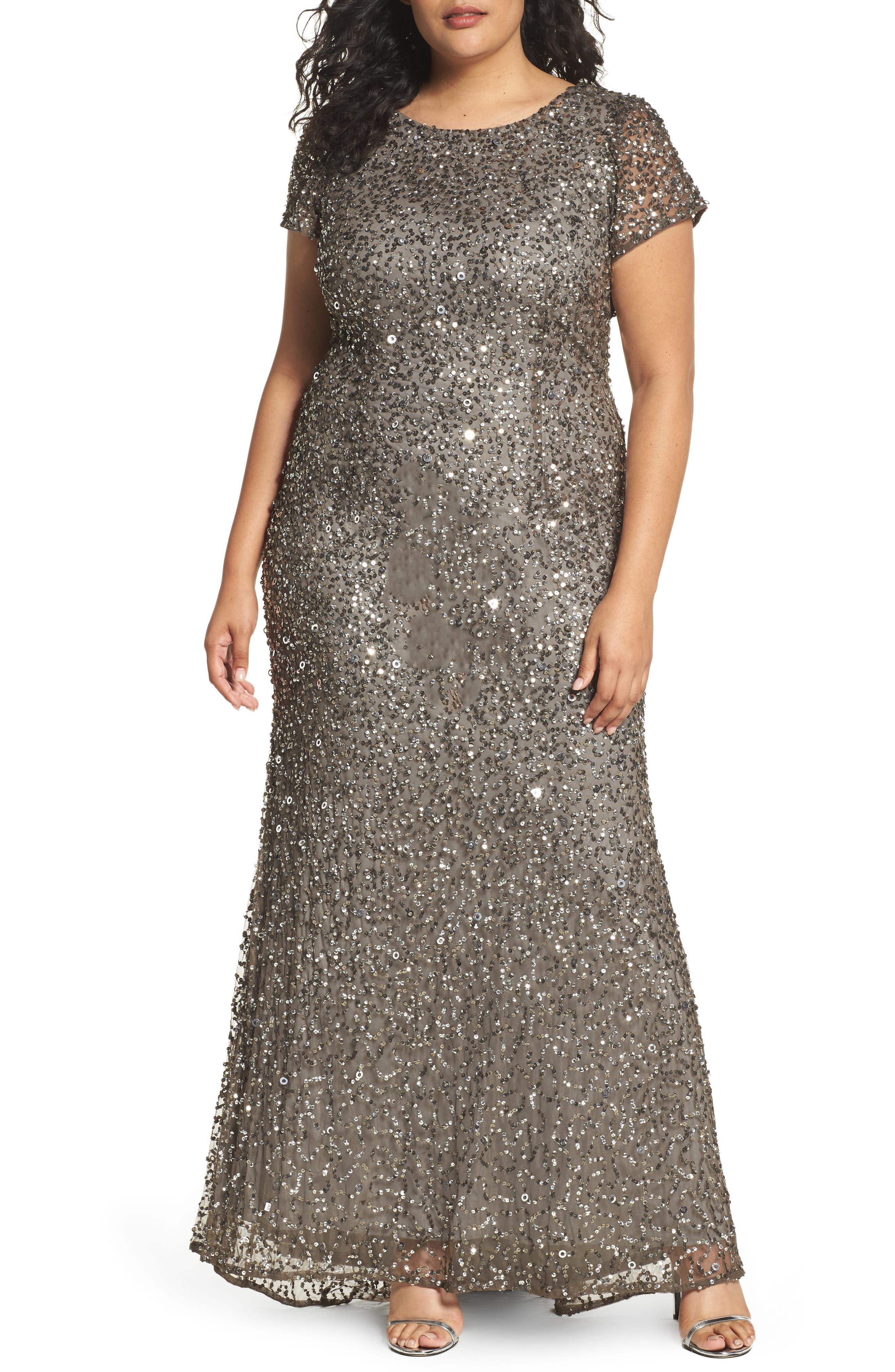 Plus Size Adrianna Papell Embellished Scoop Back Gown, Grey