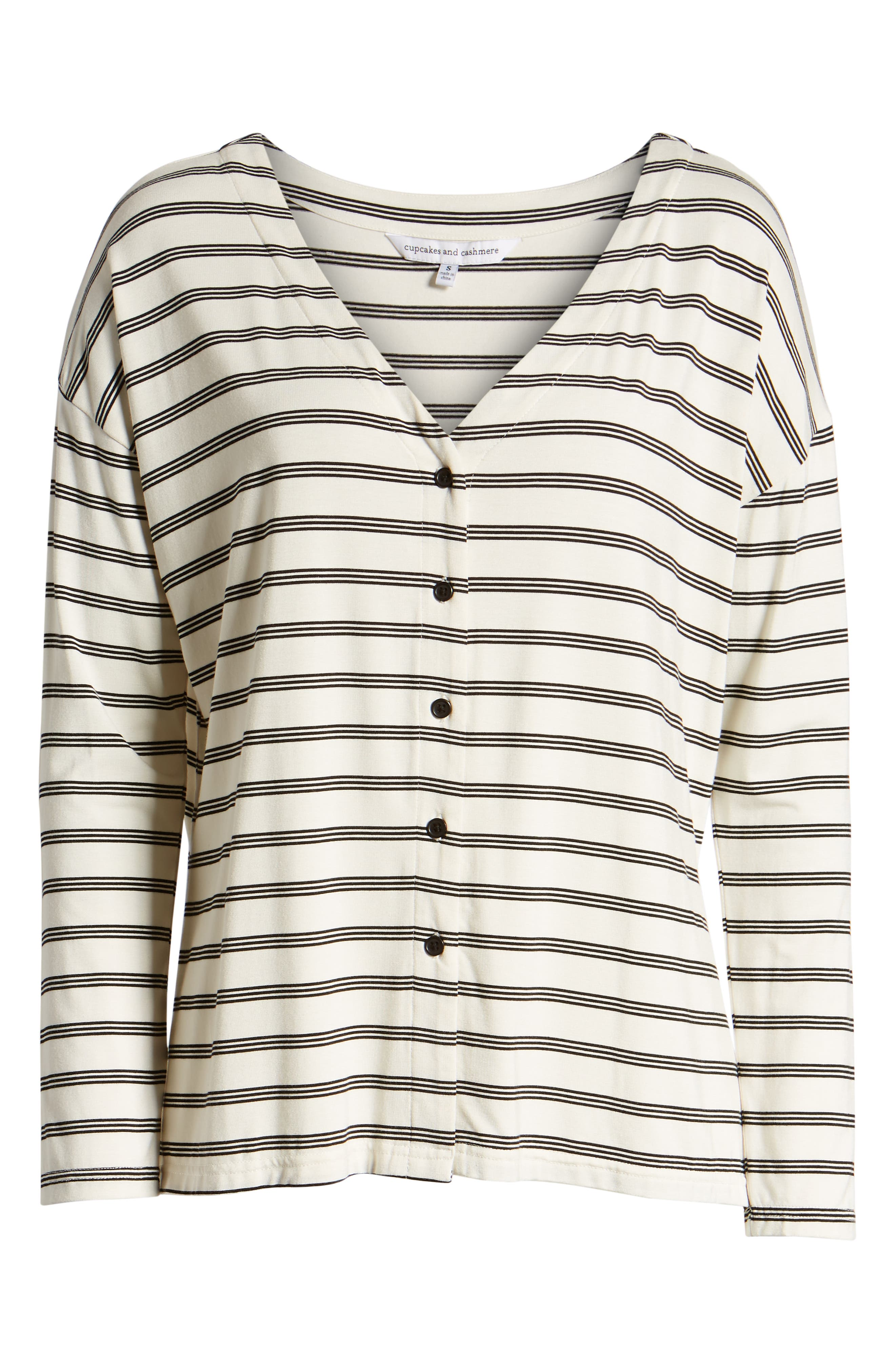 CUPCAKES AND CASHMERE,                             Roxanna Stripe Knit Top,                             Alternate thumbnail 6, color,                             IVORY