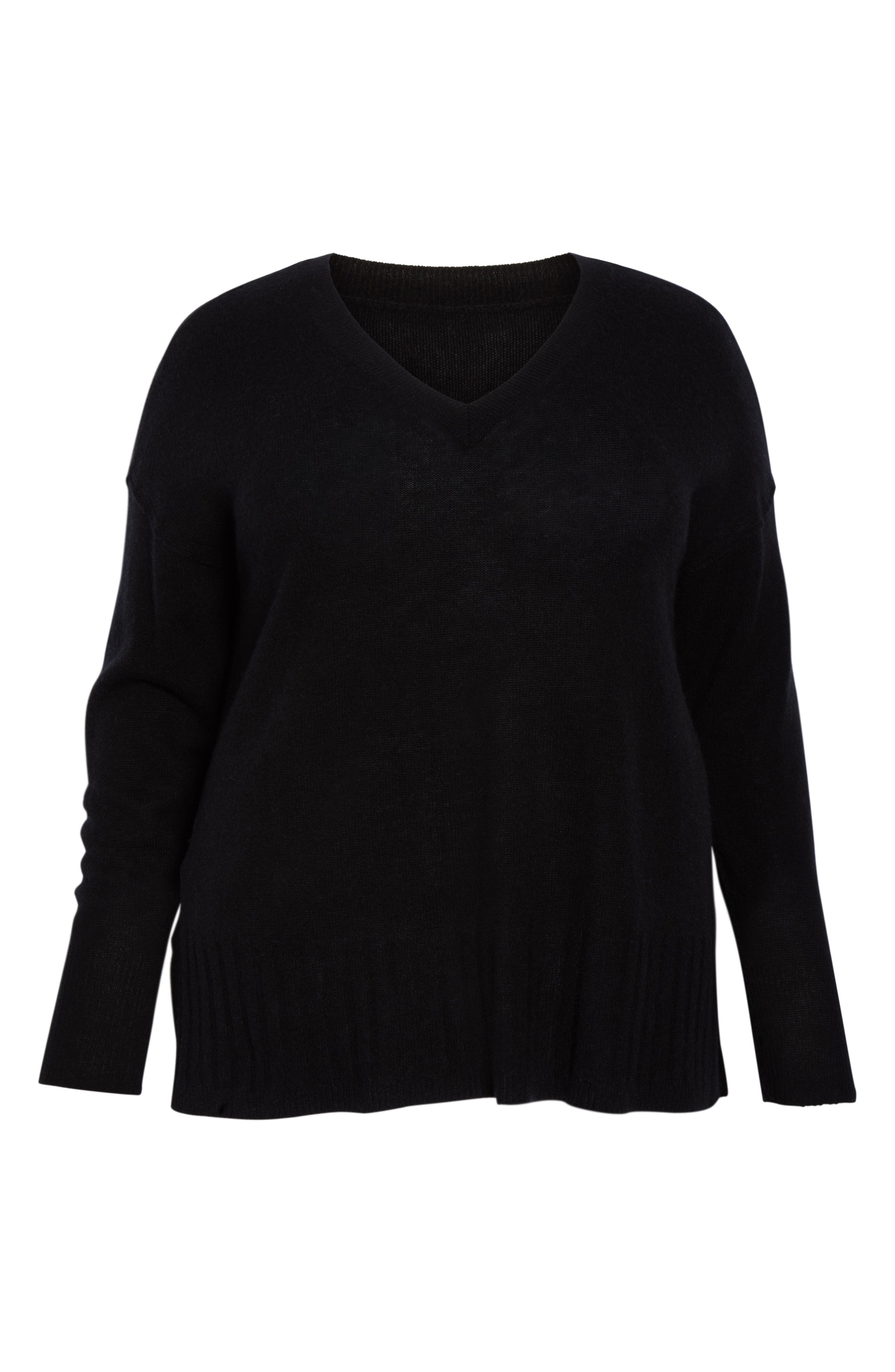 Wool & Cashmere Side Split Pullover,                             Alternate thumbnail 6, color,                             BLACK