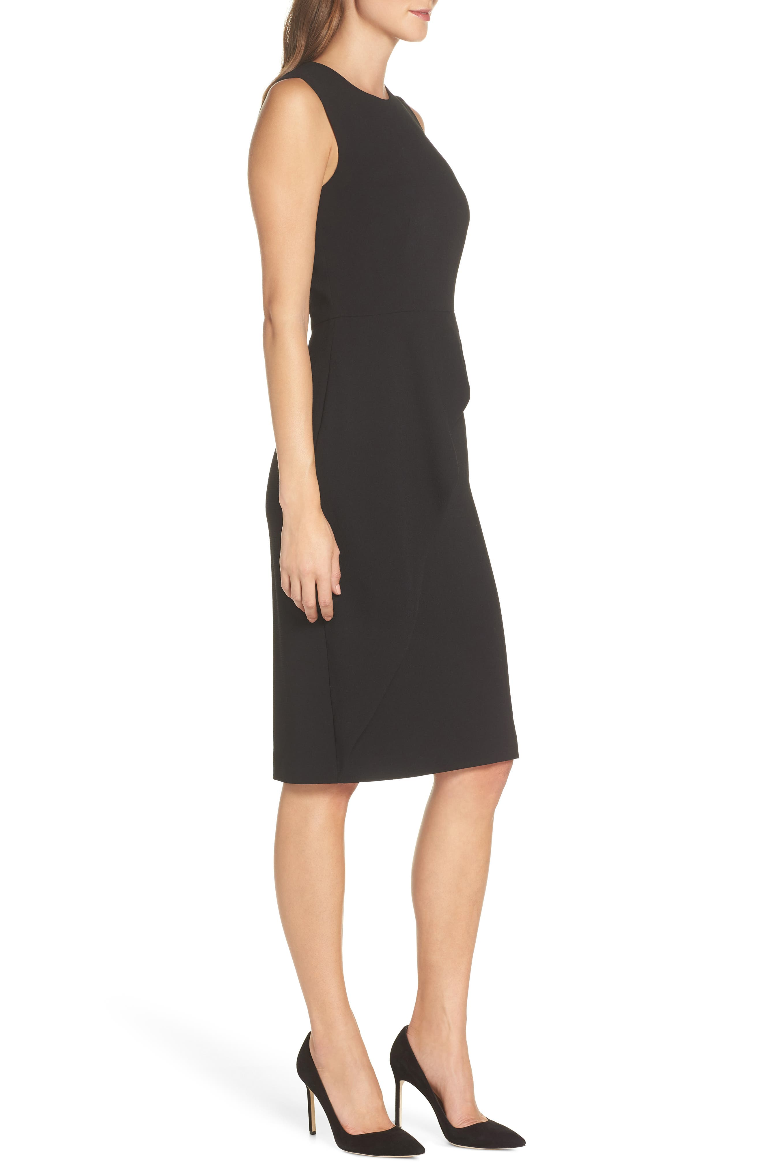 Asymmetrical Ruffle Sheath Dress,                             Alternate thumbnail 3, color,                             001