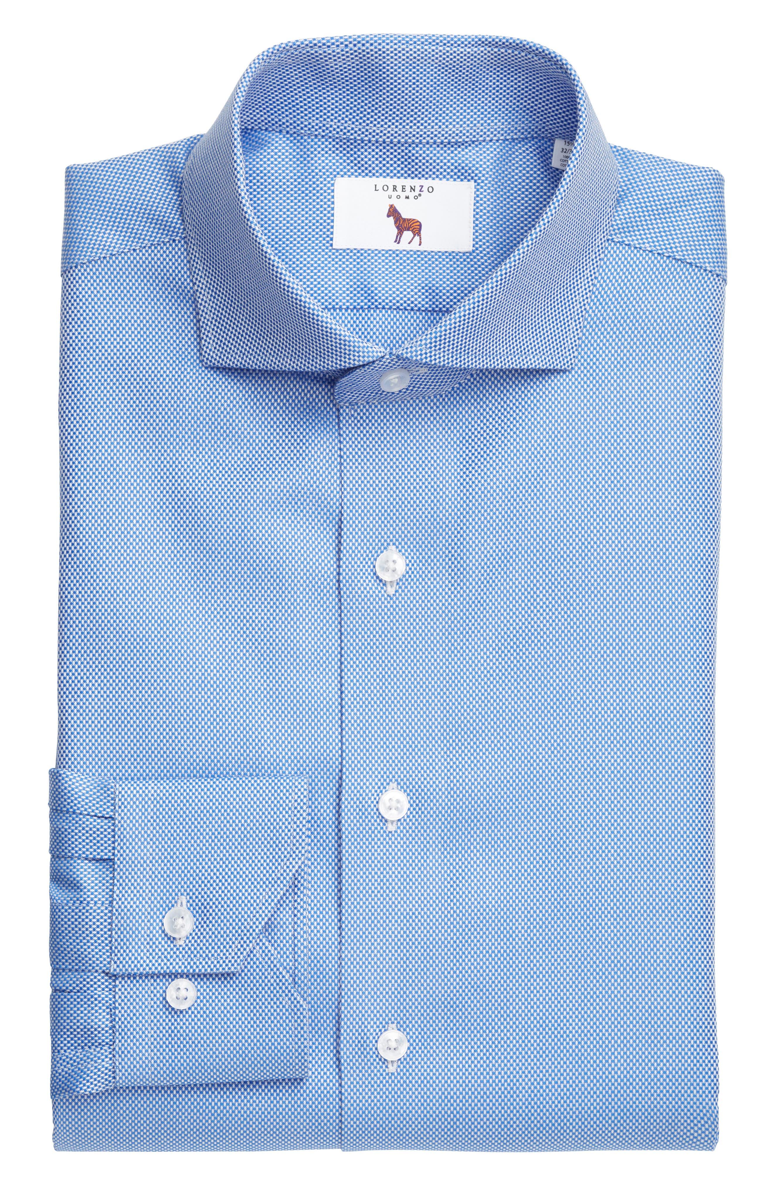 Trim Fit Texture Dress Shirt,                             Alternate thumbnail 3, color,                             NAVY