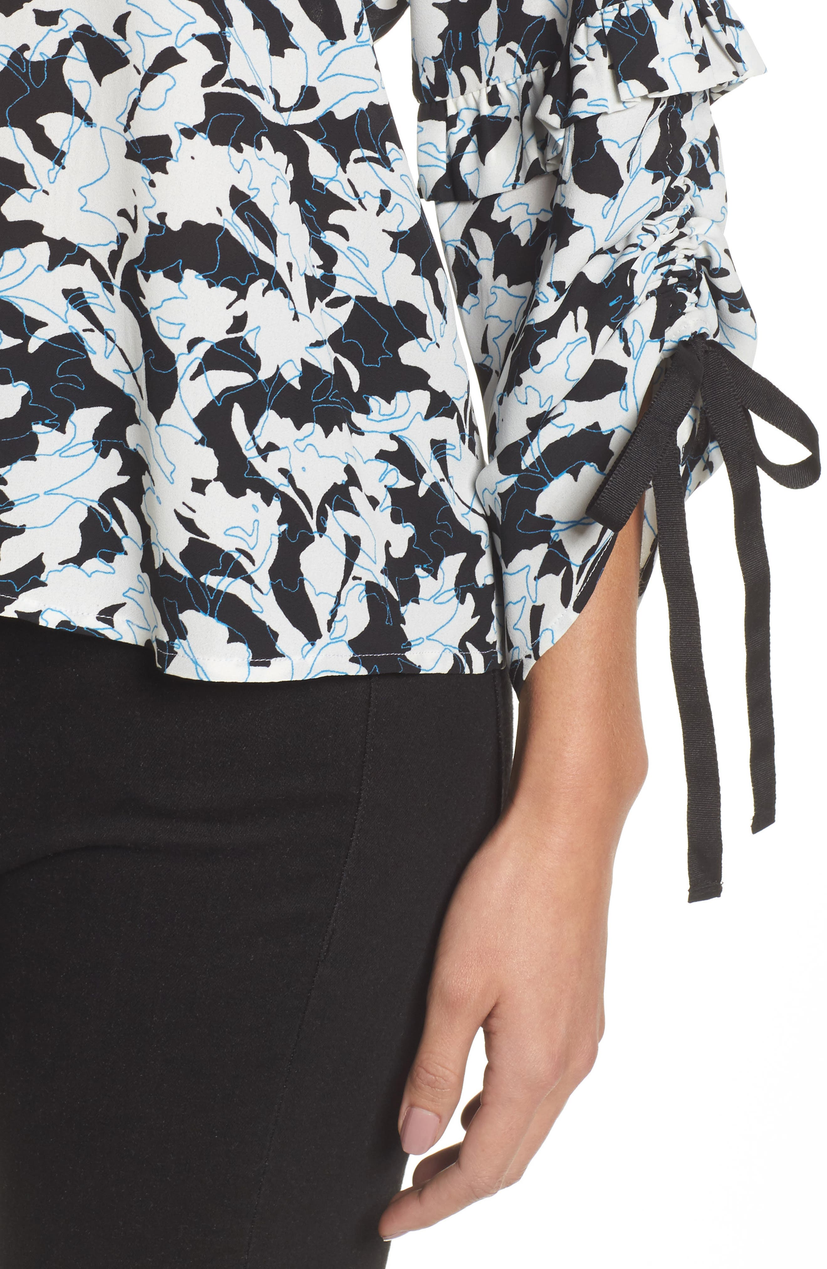 Ruched Tie Sleeve Top,                             Alternate thumbnail 4, color,                             001