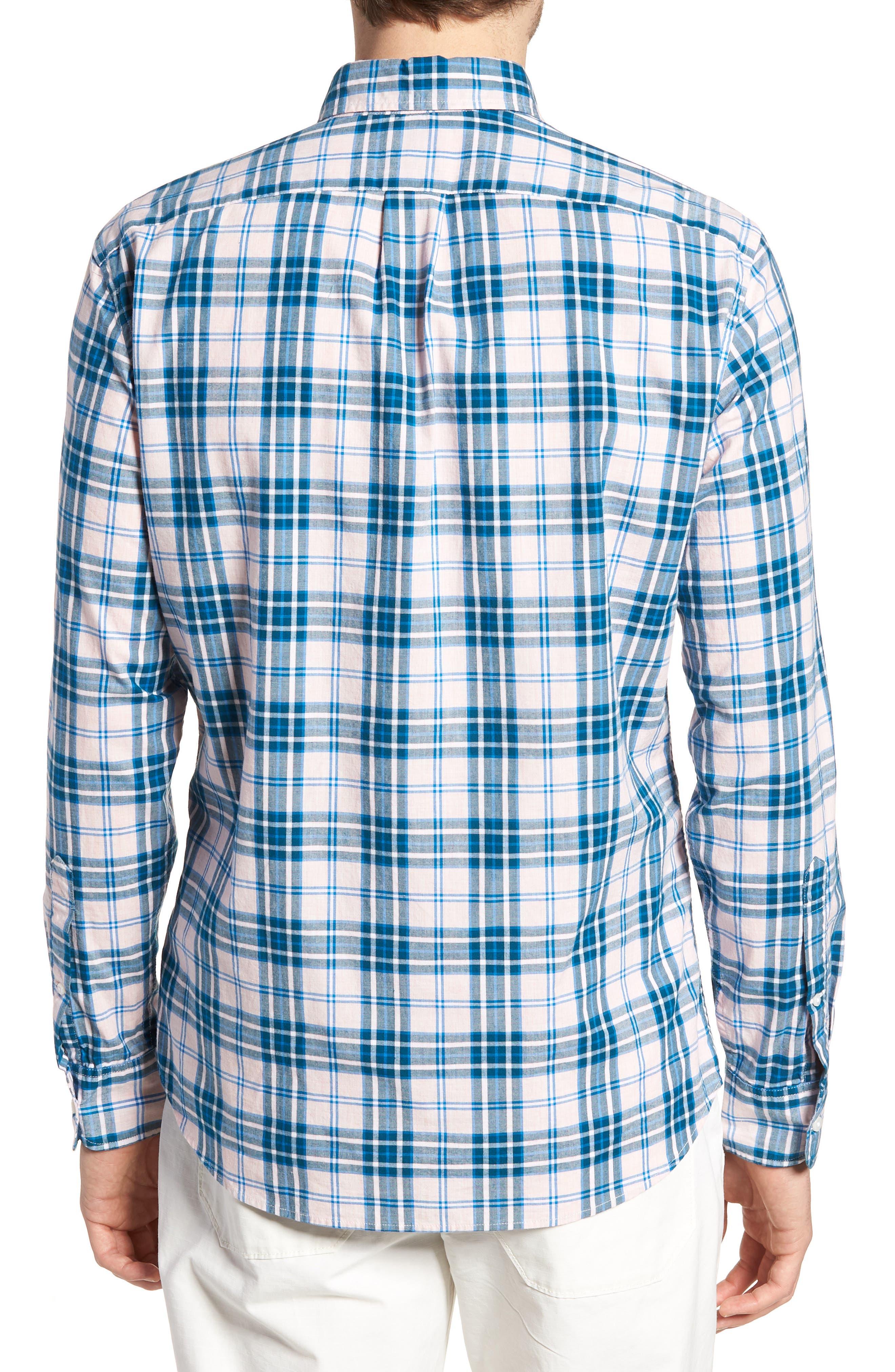 Slim Fit Stretch Secret Wash Heather Poplin Plaid Sport Shirt,                             Alternate thumbnail 2, color,