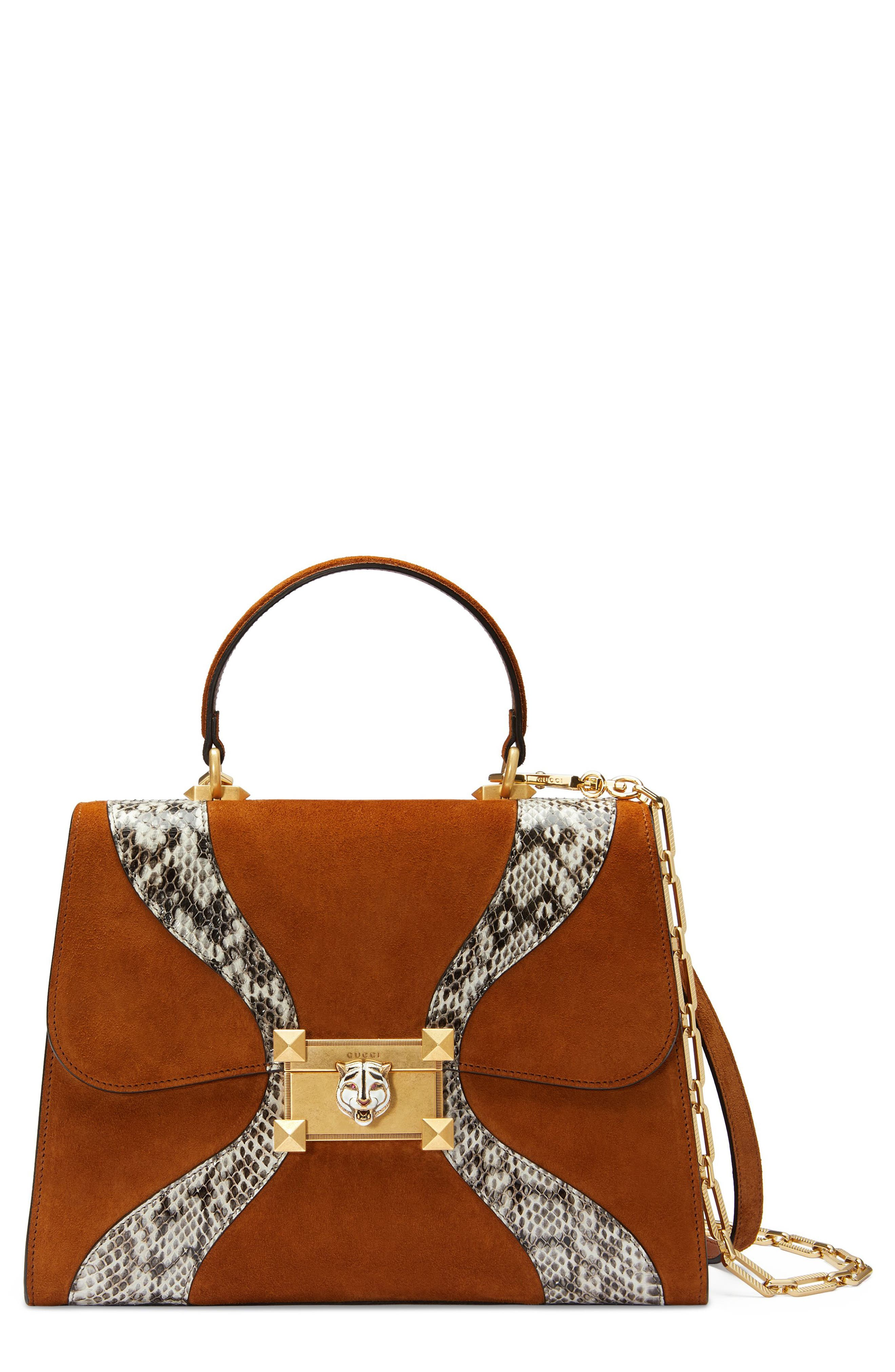 Small Osiride Leather & Canvas Top Handle Satchel,                             Main thumbnail 1, color,                             BRIGHT CUIR/ ROCCIA