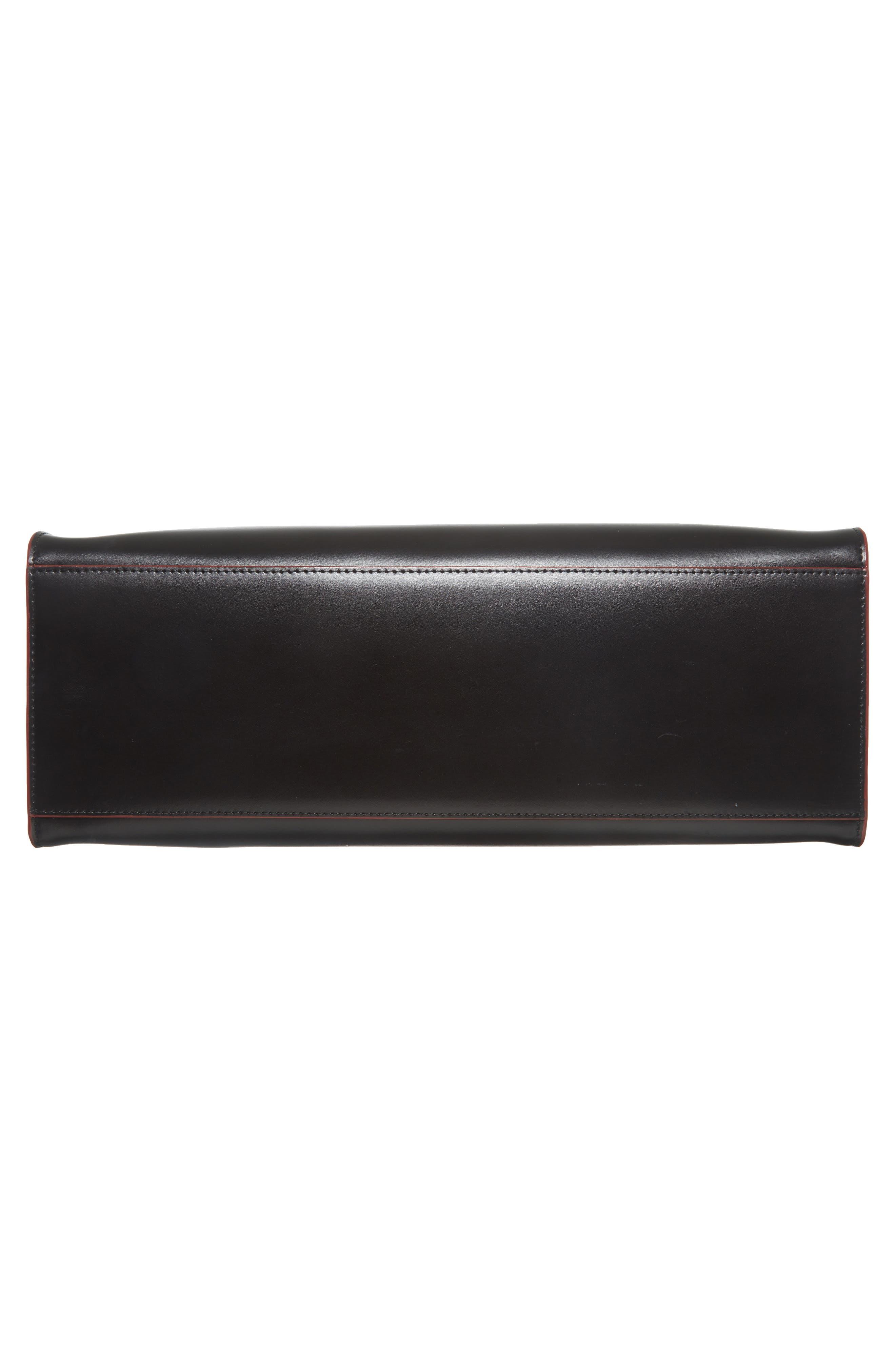 Audrey Under Lock & Key - Jana RFID Leather Tote,                             Alternate thumbnail 6, color,                             BLACK