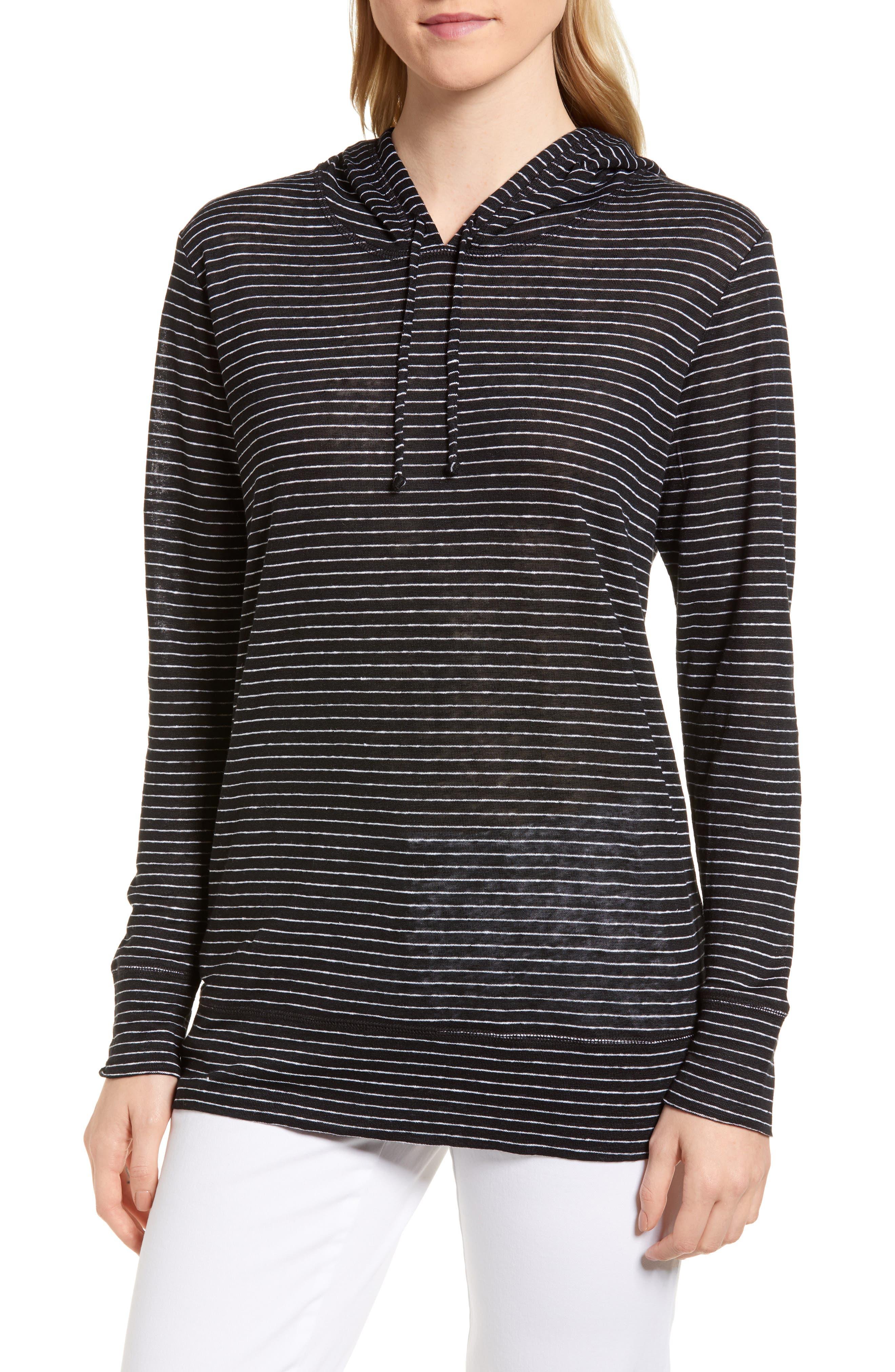 Knit Linen Hoodie,                         Main,                         color, BLACK- IVORY SKINNY STRIPE