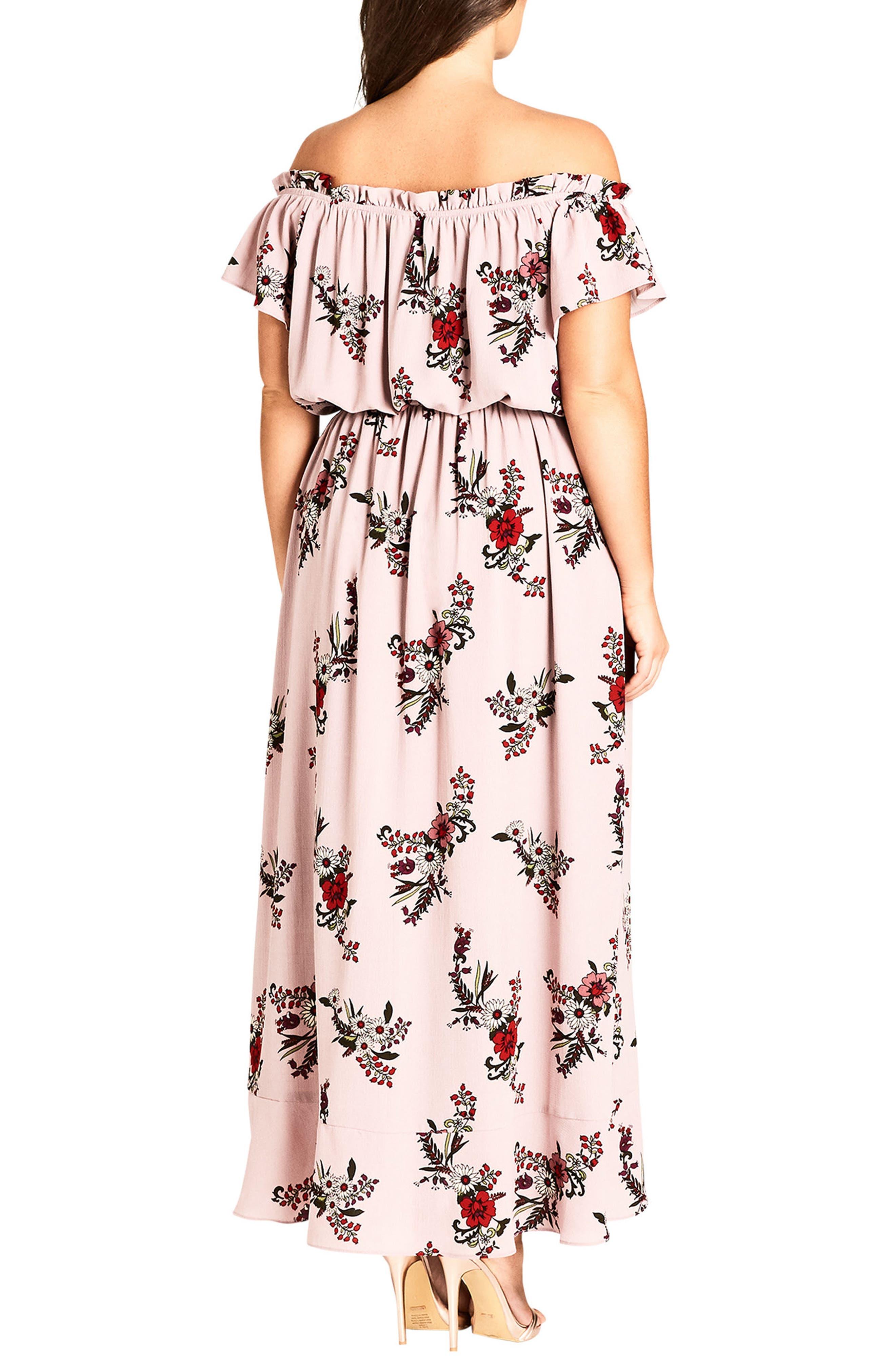 Sky Floral Off the Shoulder Maxi Dress,                             Alternate thumbnail 2, color,                             512