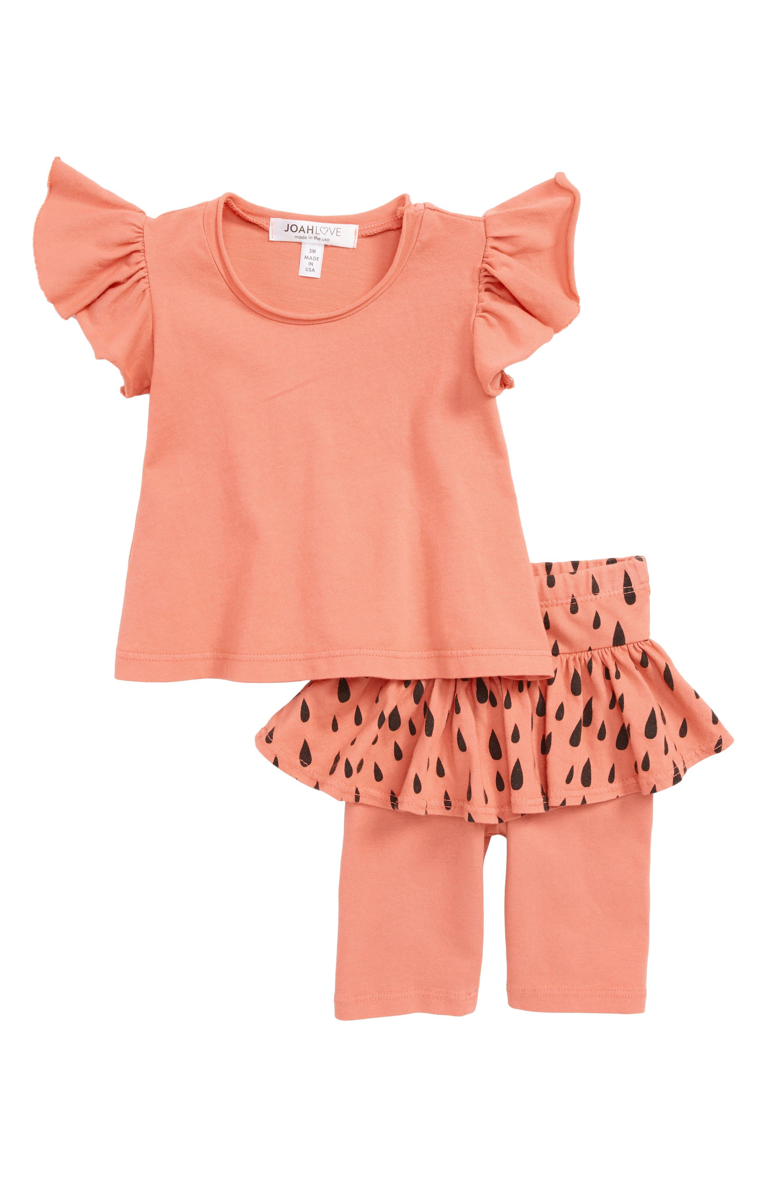 Print Top & Skirted Leggings Set,                         Main,                         color, BERMUDA PINK
