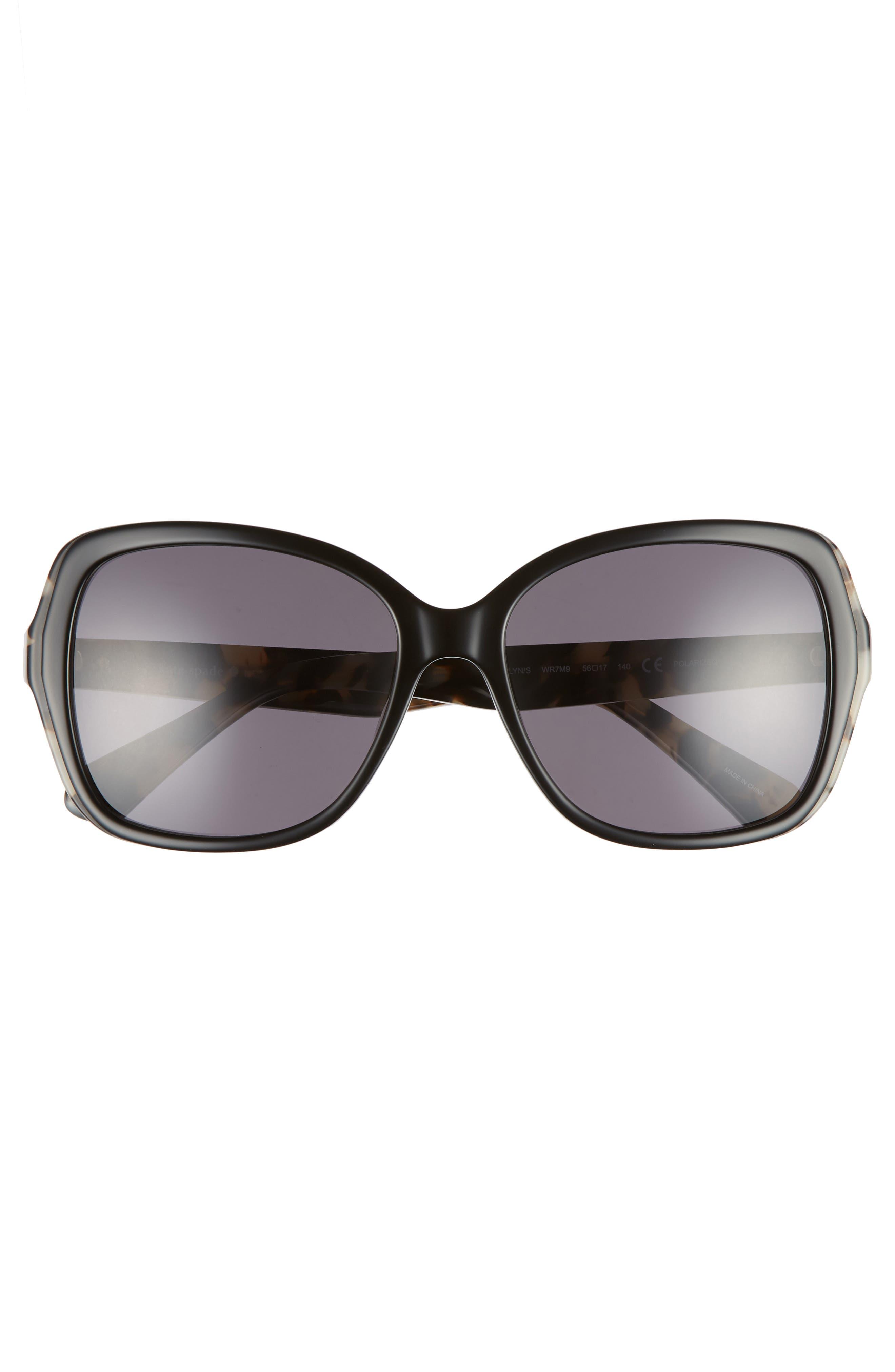 karalyns 56mm oversized sunglasses,                             Alternate thumbnail 3, color,                             BLACK HAVANA POLAR