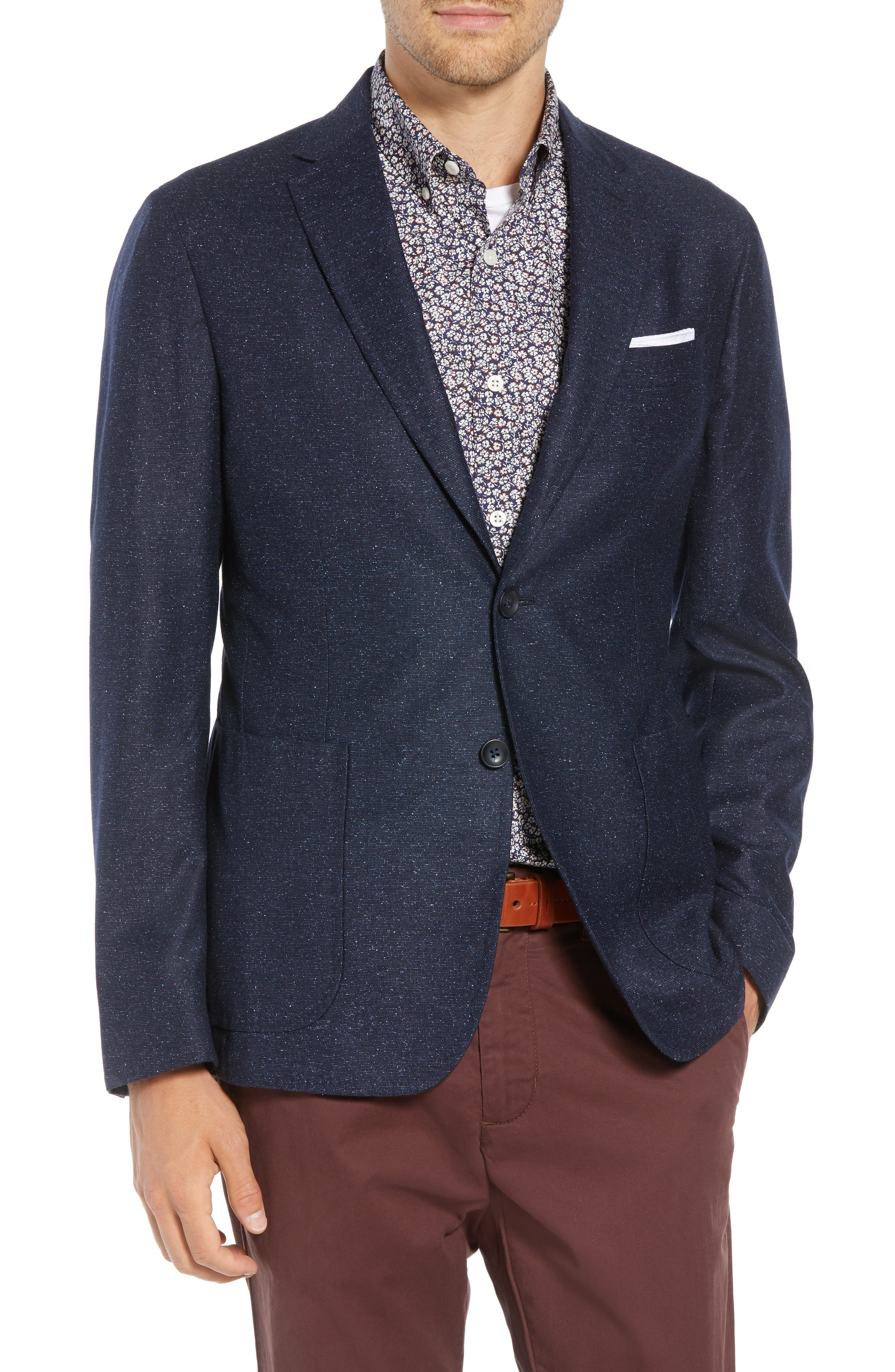 Extra Trim Fit Wool & Silk Soft Coat,                         Main,                         color, NAVY