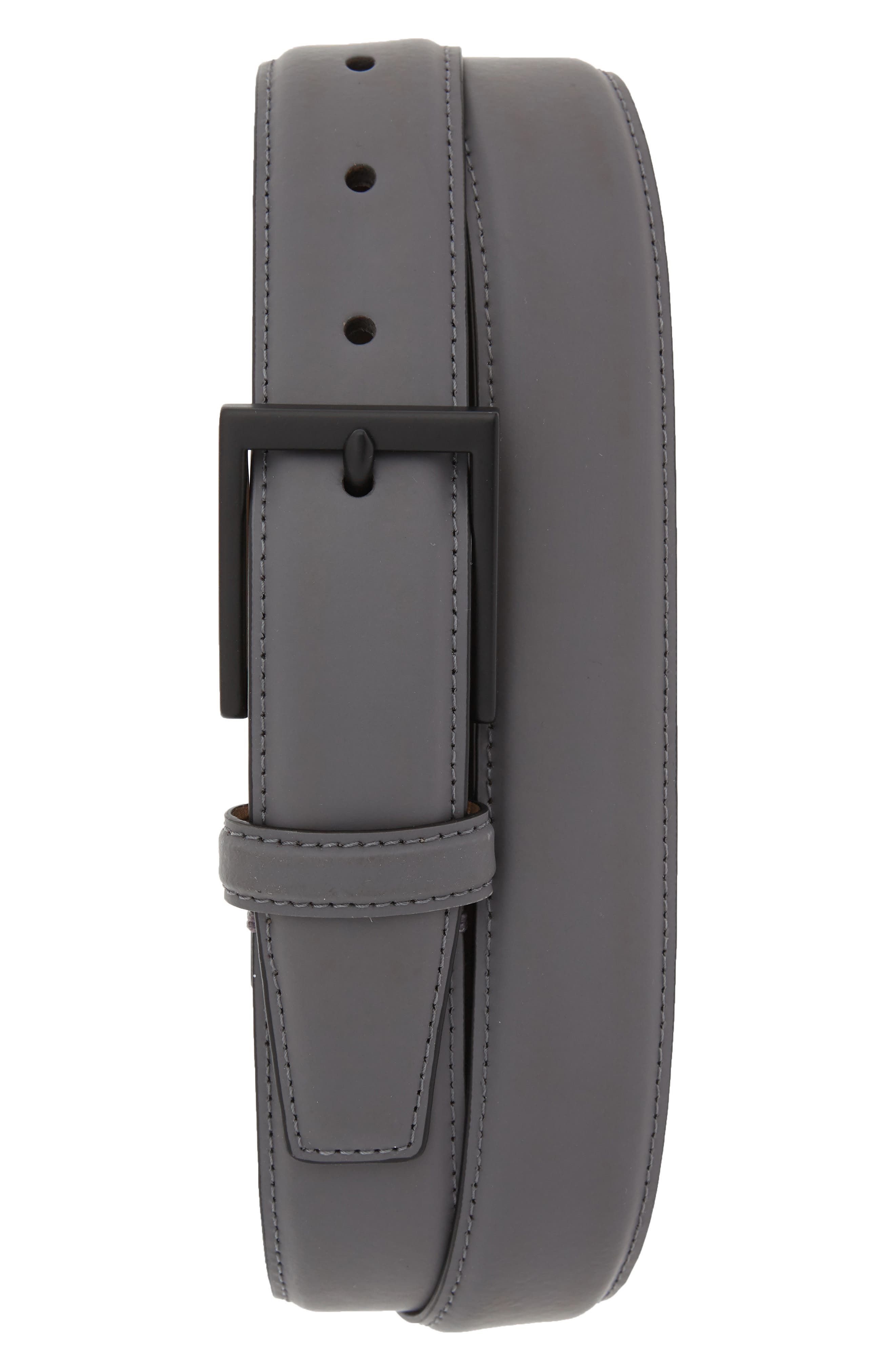 Cole Haan Rubberized Leather Belt, Grey