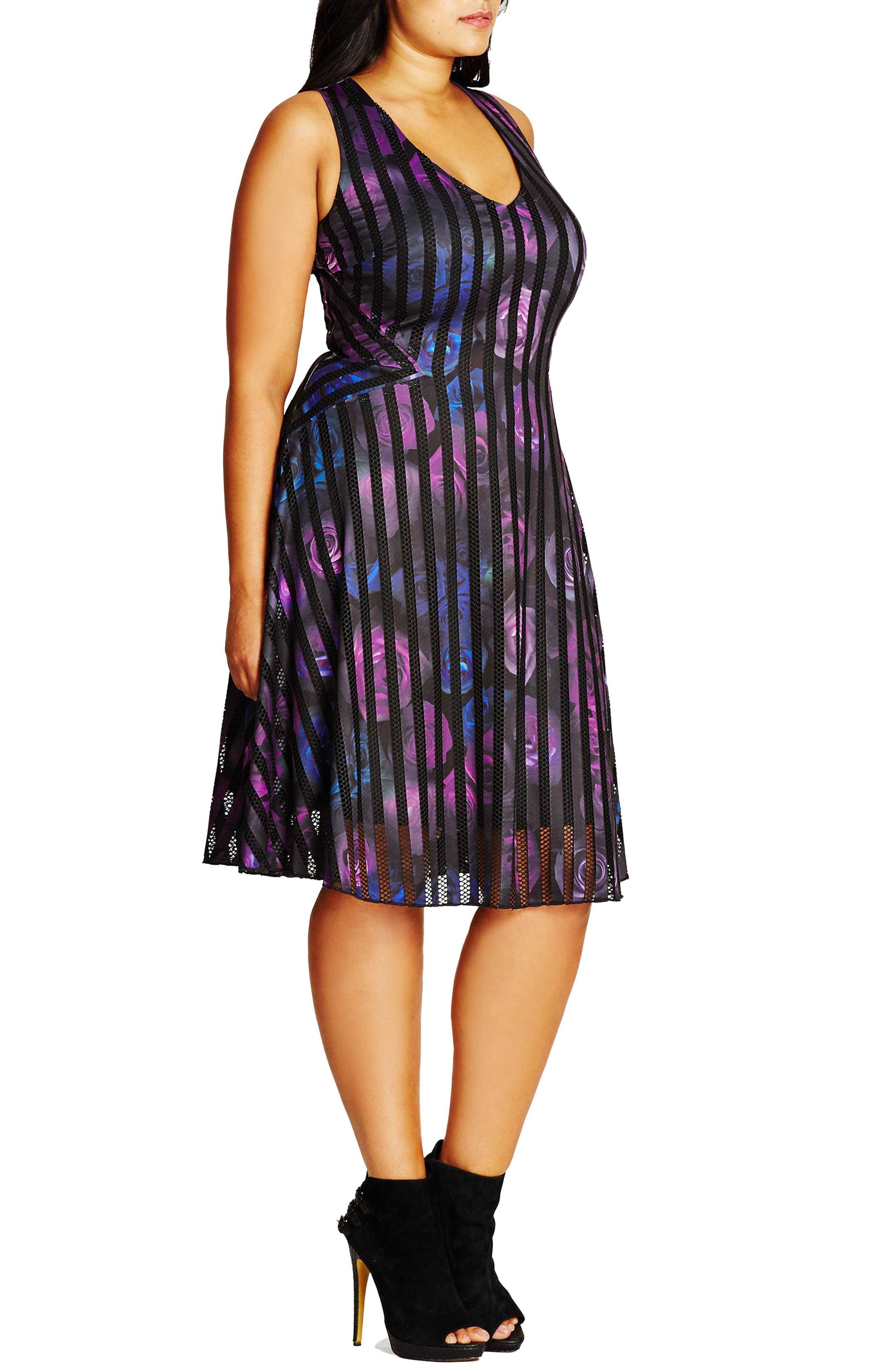 Rose Garden Fit & Flare Dress,                             Alternate thumbnail 4, color,                             009