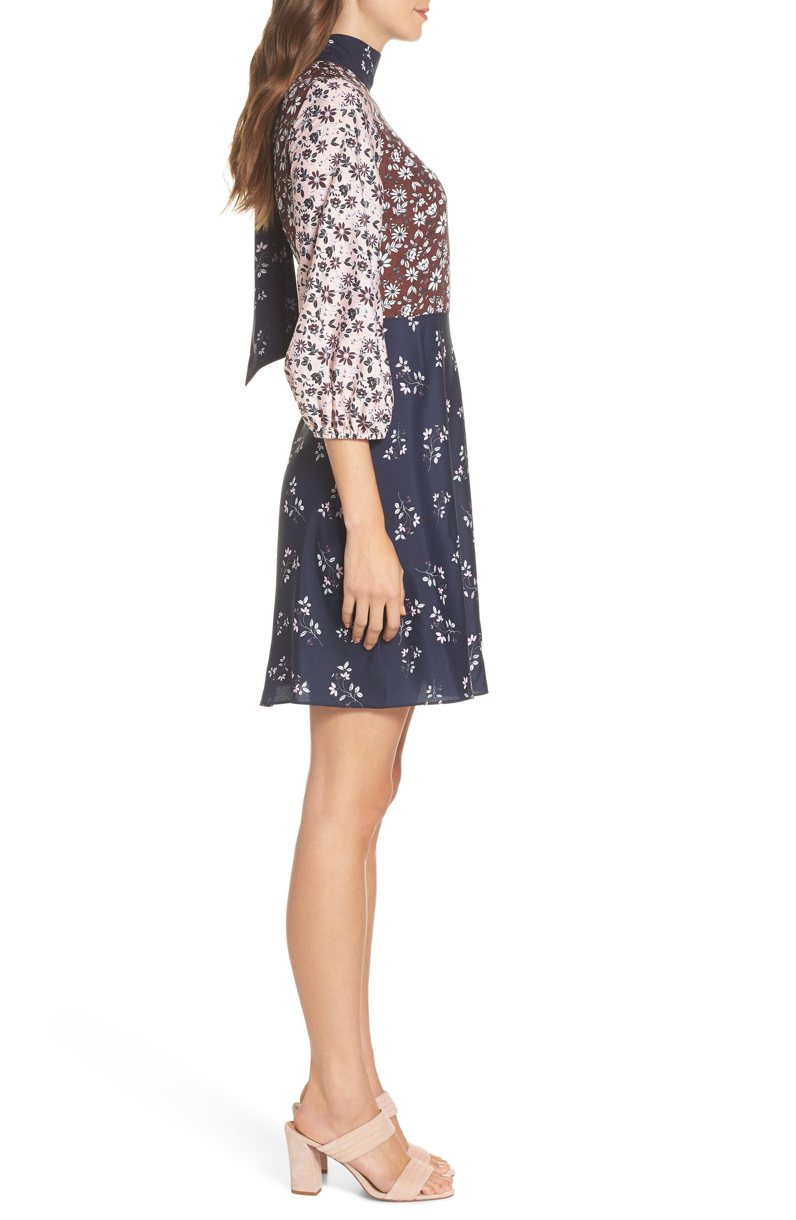 Colorblock Floral Woven Dress,                             Alternate thumbnail 3, color,                             400