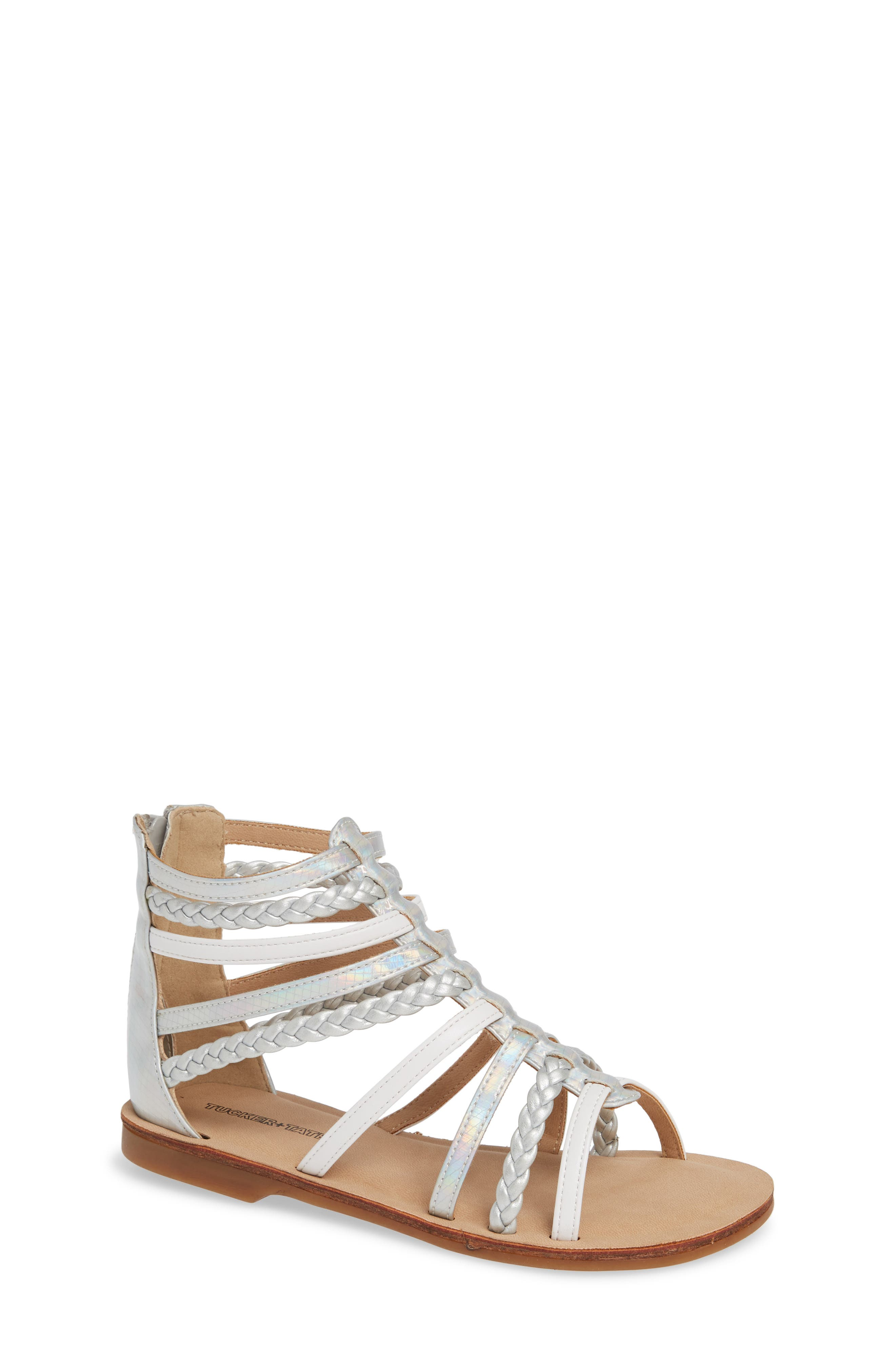 Sonja Braided Gladiator Sandal,                         Main,                         color, WHITE/SILVER FAUX LEATHER