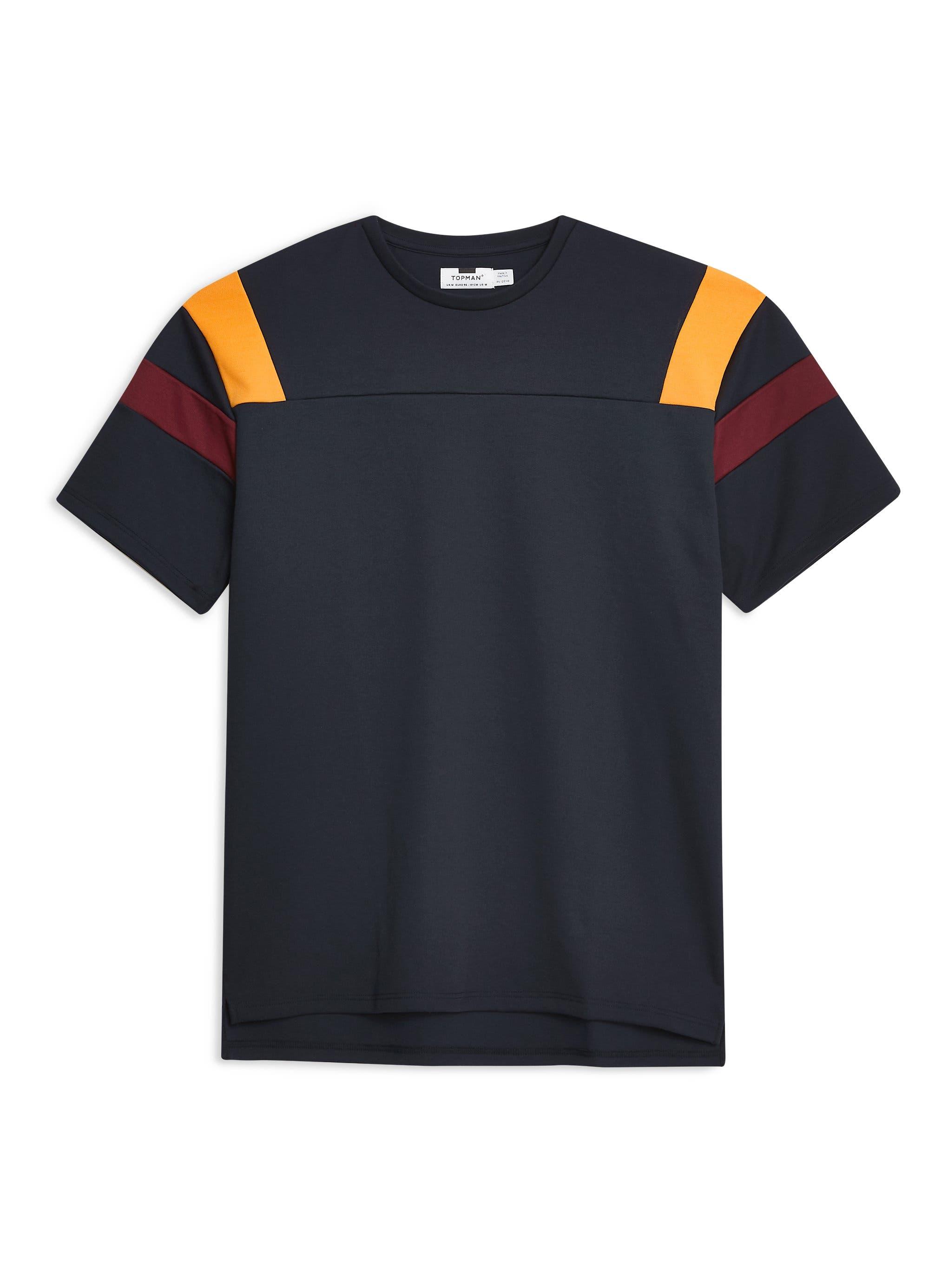 Oversize Panel T-Shirt,                             Alternate thumbnail 4, color,                             NAVY/ BURGUNDY