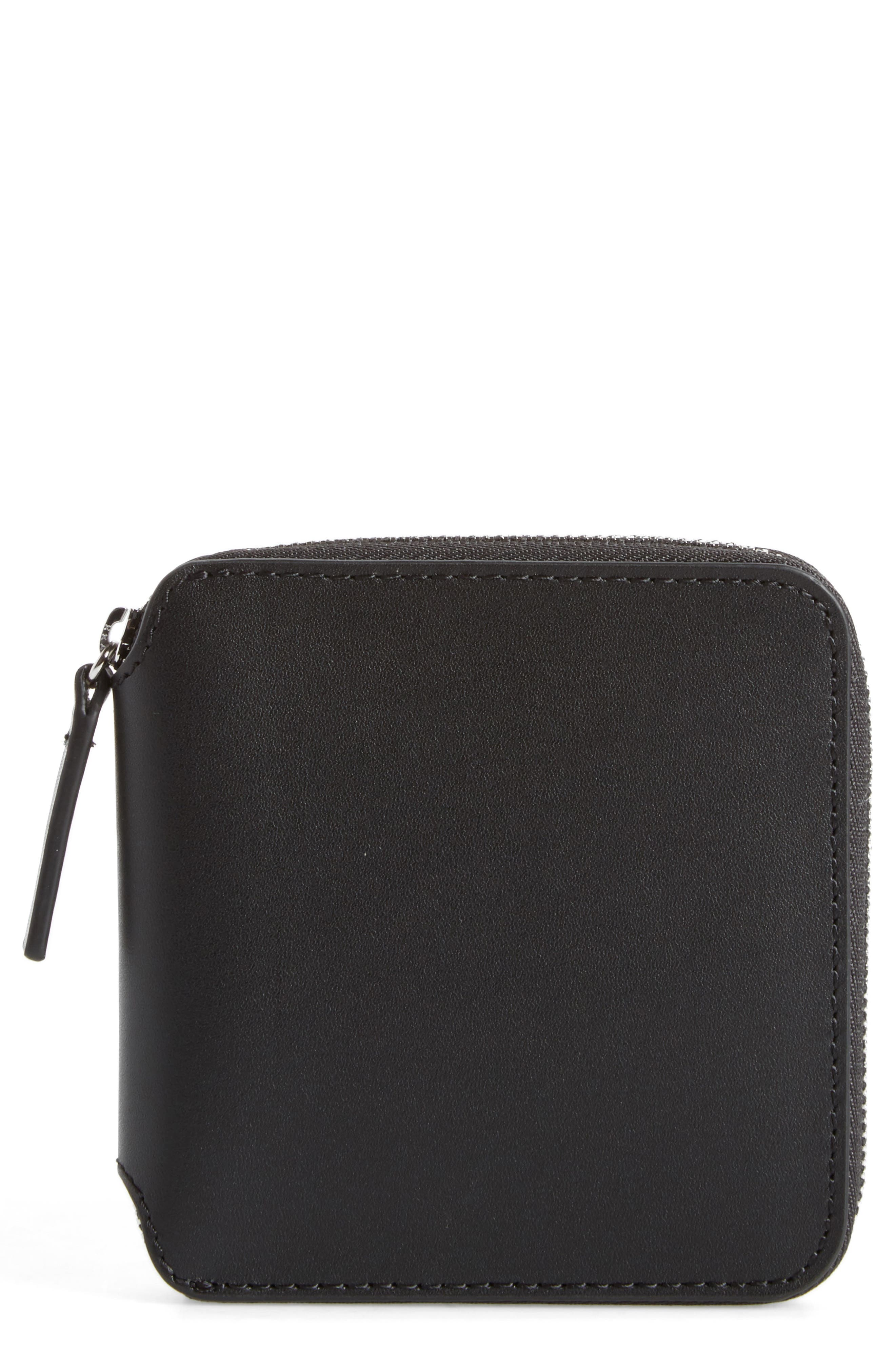 BAGGU Zip Around Square Leather Wallet, Main, color, 001