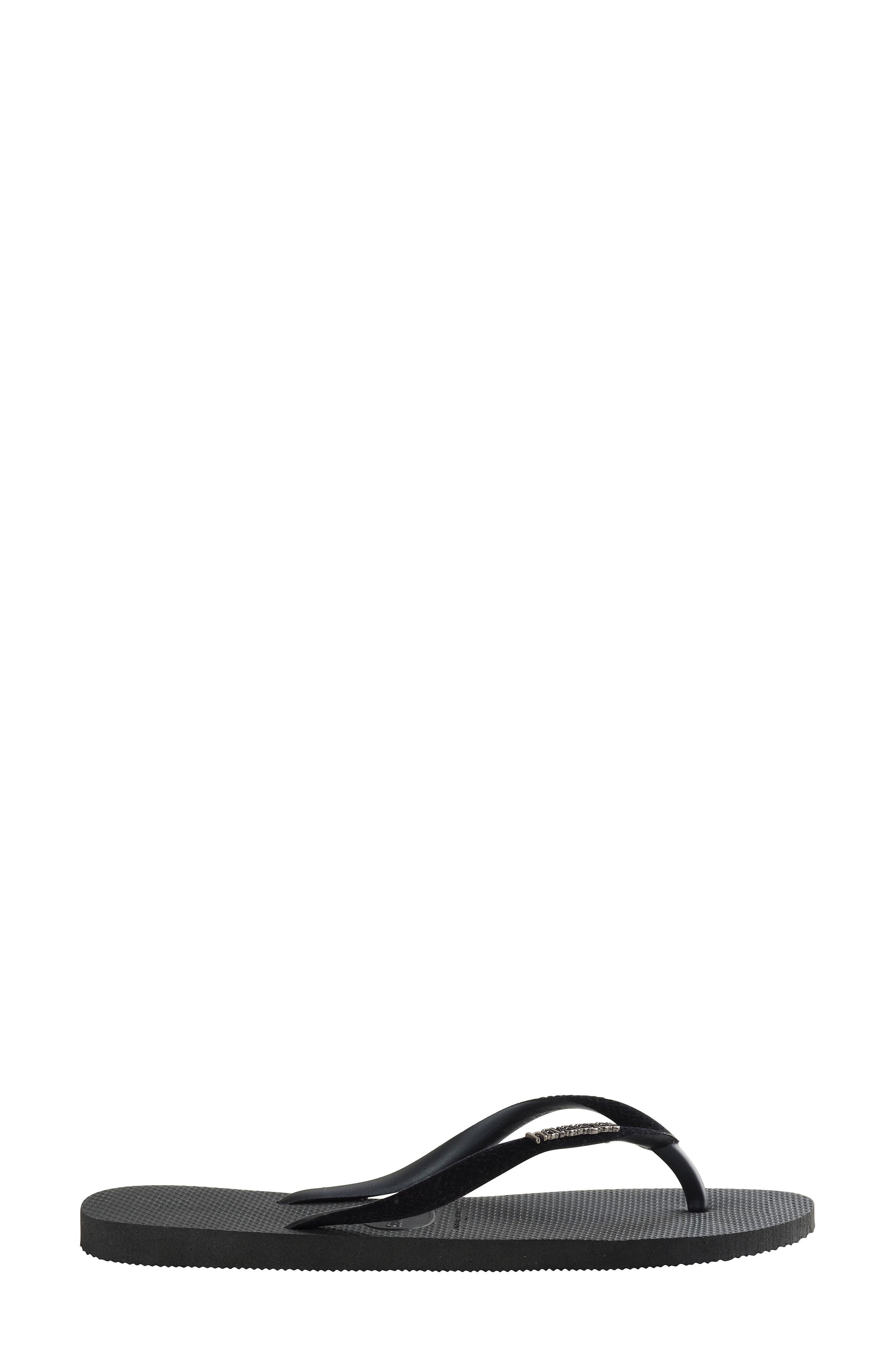 Slim Velvet Flip Flop,                             Alternate thumbnail 3, color,                             BLACK