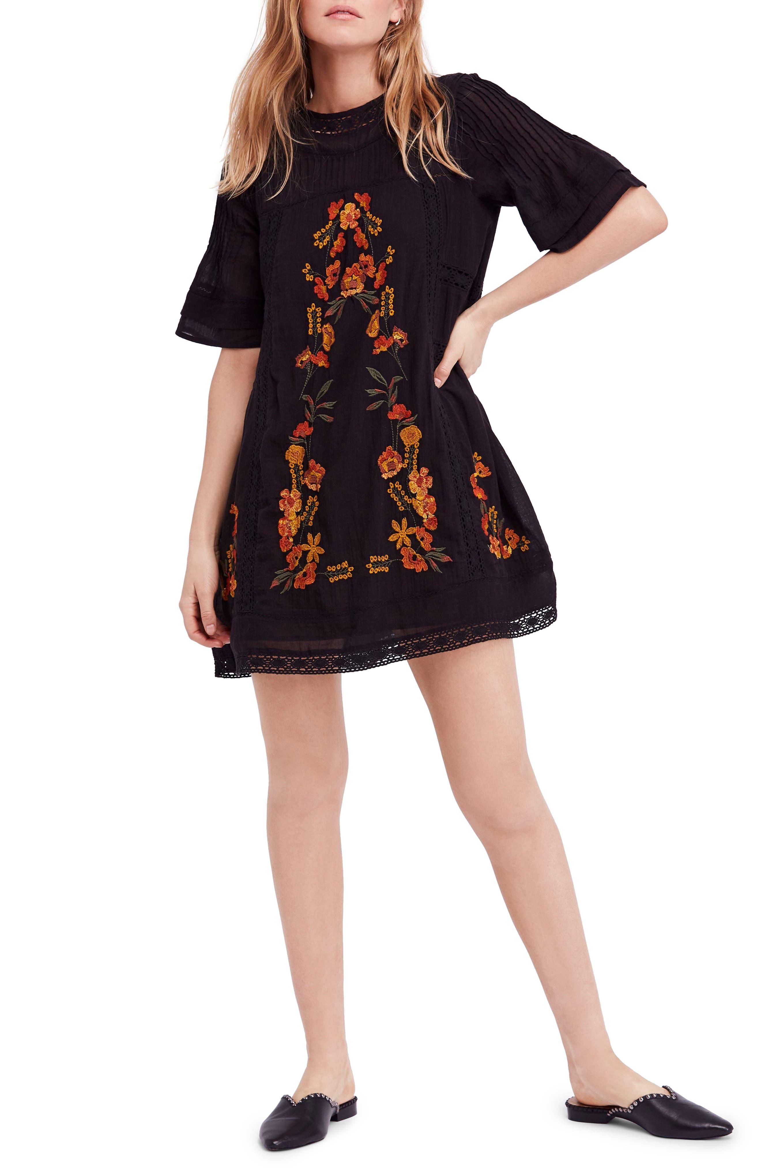 'Perfectly Victorian' Minidress,                             Alternate thumbnail 6, color,                             BLACK COMBO