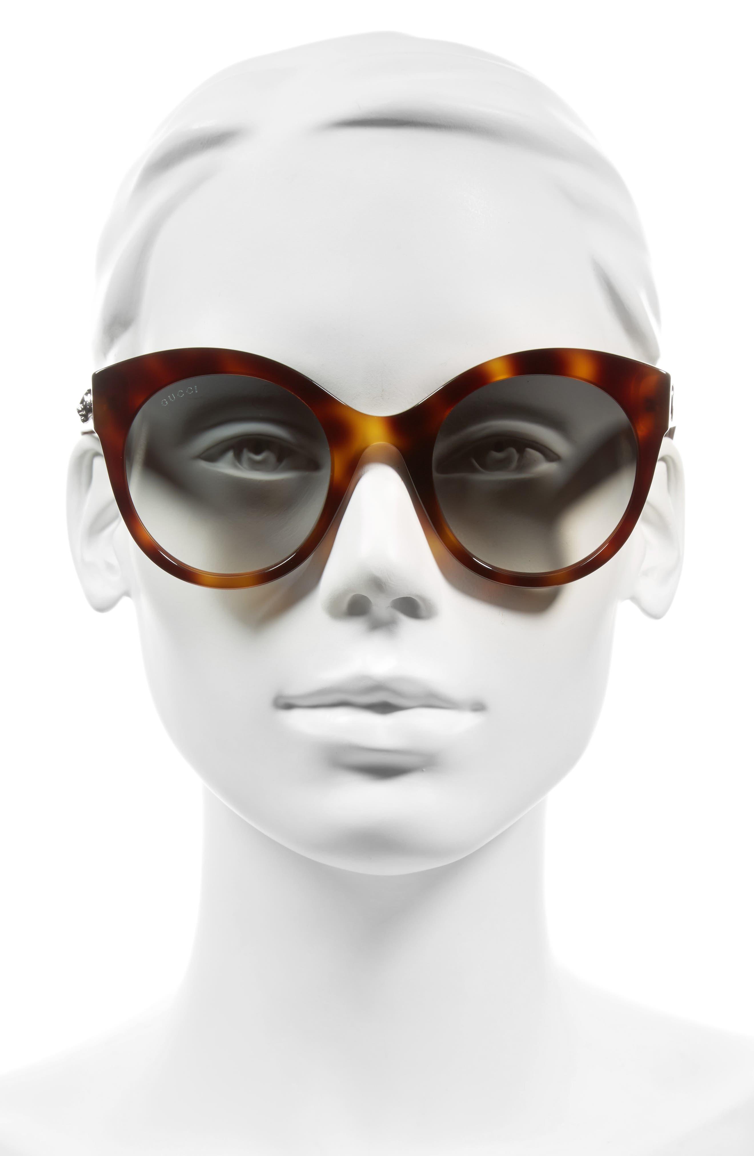 52mm Cat Eye Sunglasses,                             Alternate thumbnail 2, color,                             HAVANA/ GREEN