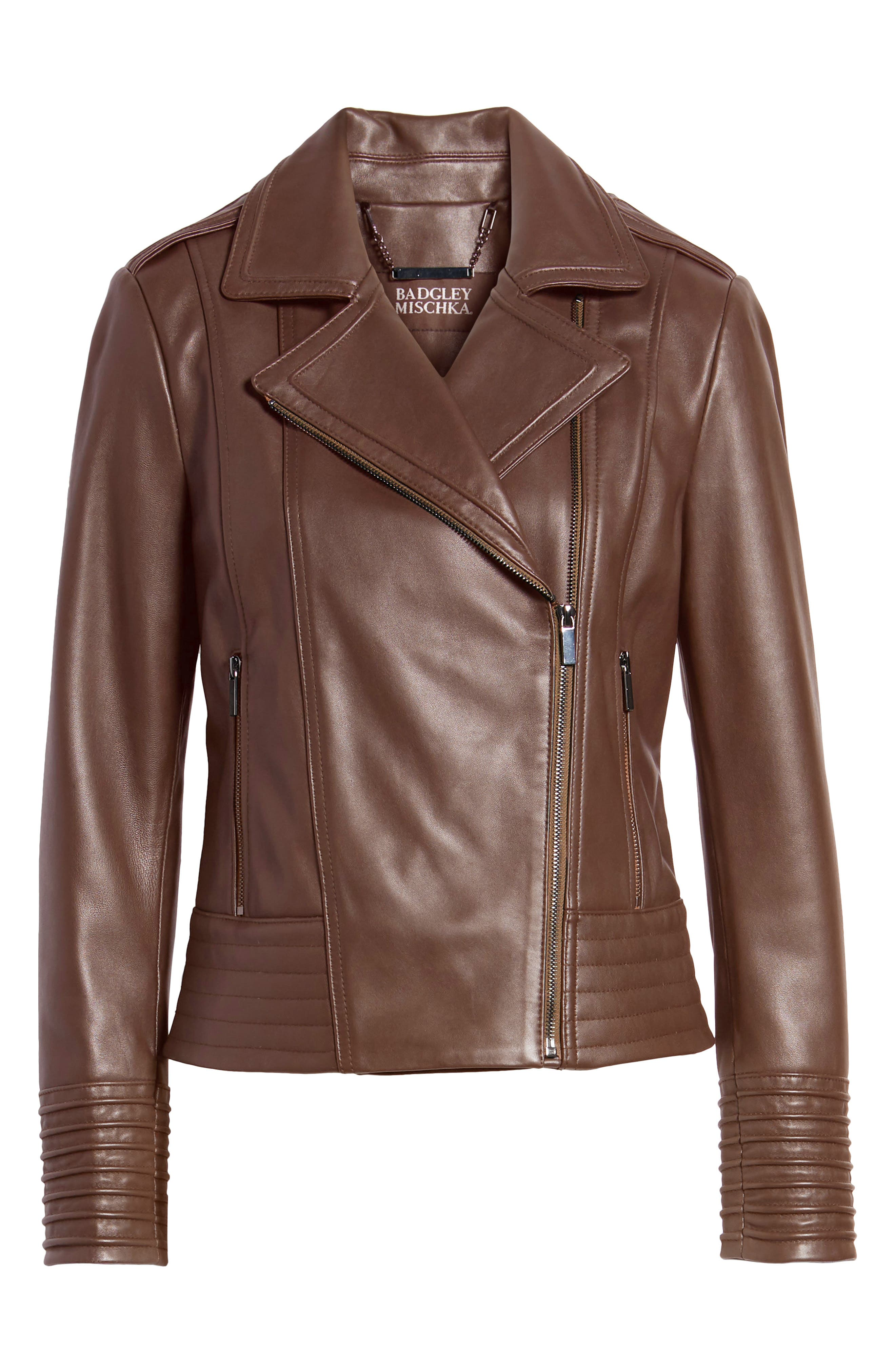 Gia Leather Biker Jacket,                             Alternate thumbnail 6, color,                             CHOCOLATE